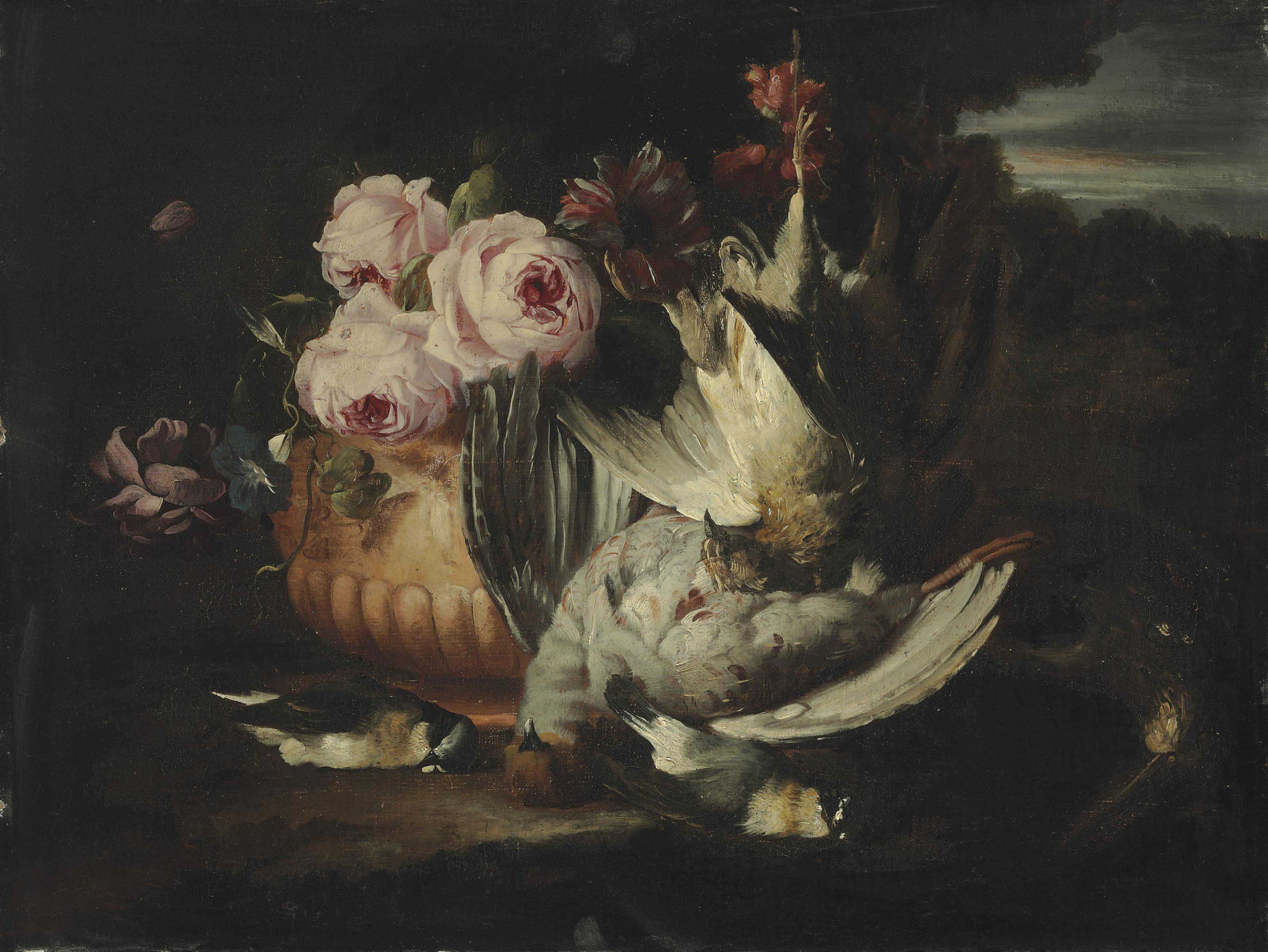 Flowers in a terracotta vase with dead game