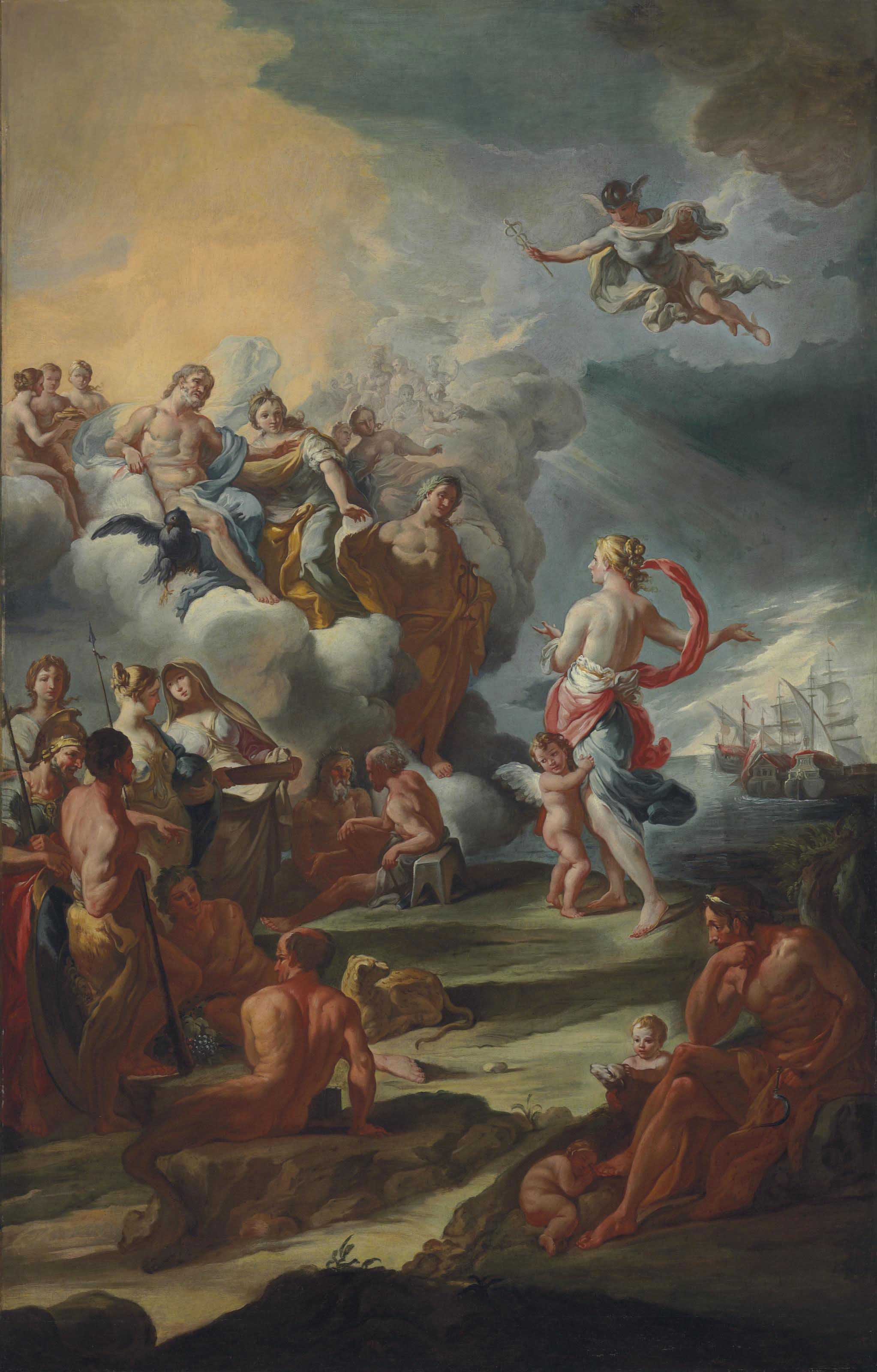 Venus appealing to Jupiter, Juno and Apollo on behalf of a fleet
