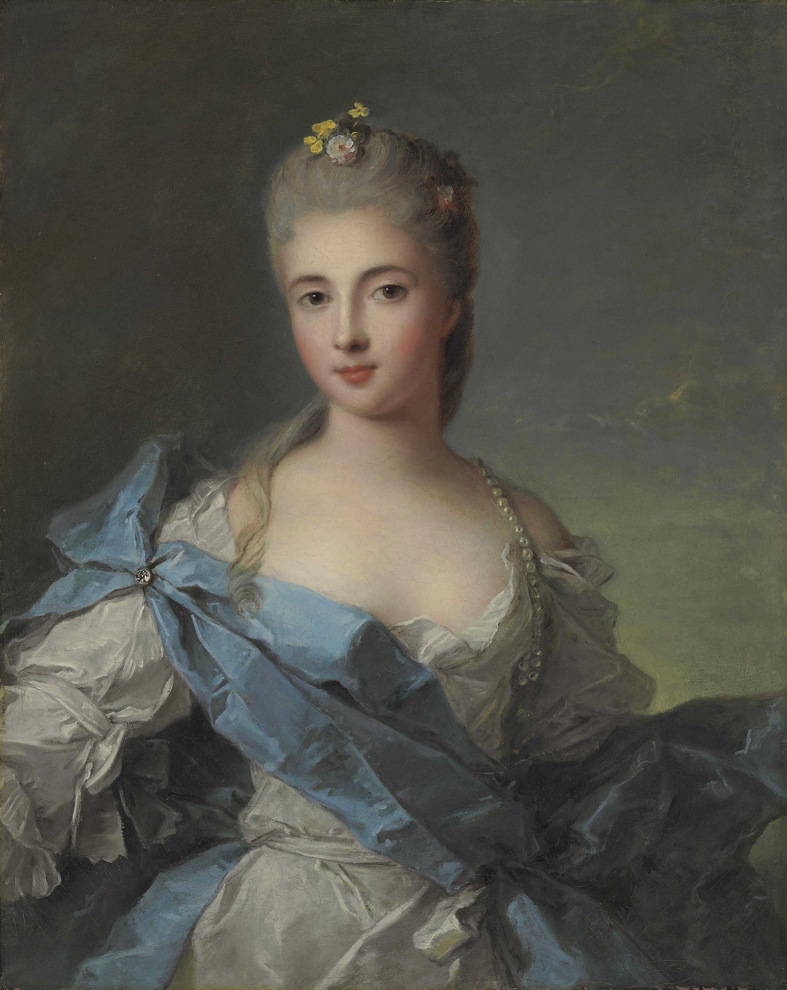 Portrait of a Lady, previously identified as the Duchesse de la Rochefoucauld, half-length, in a blue and white satin dress