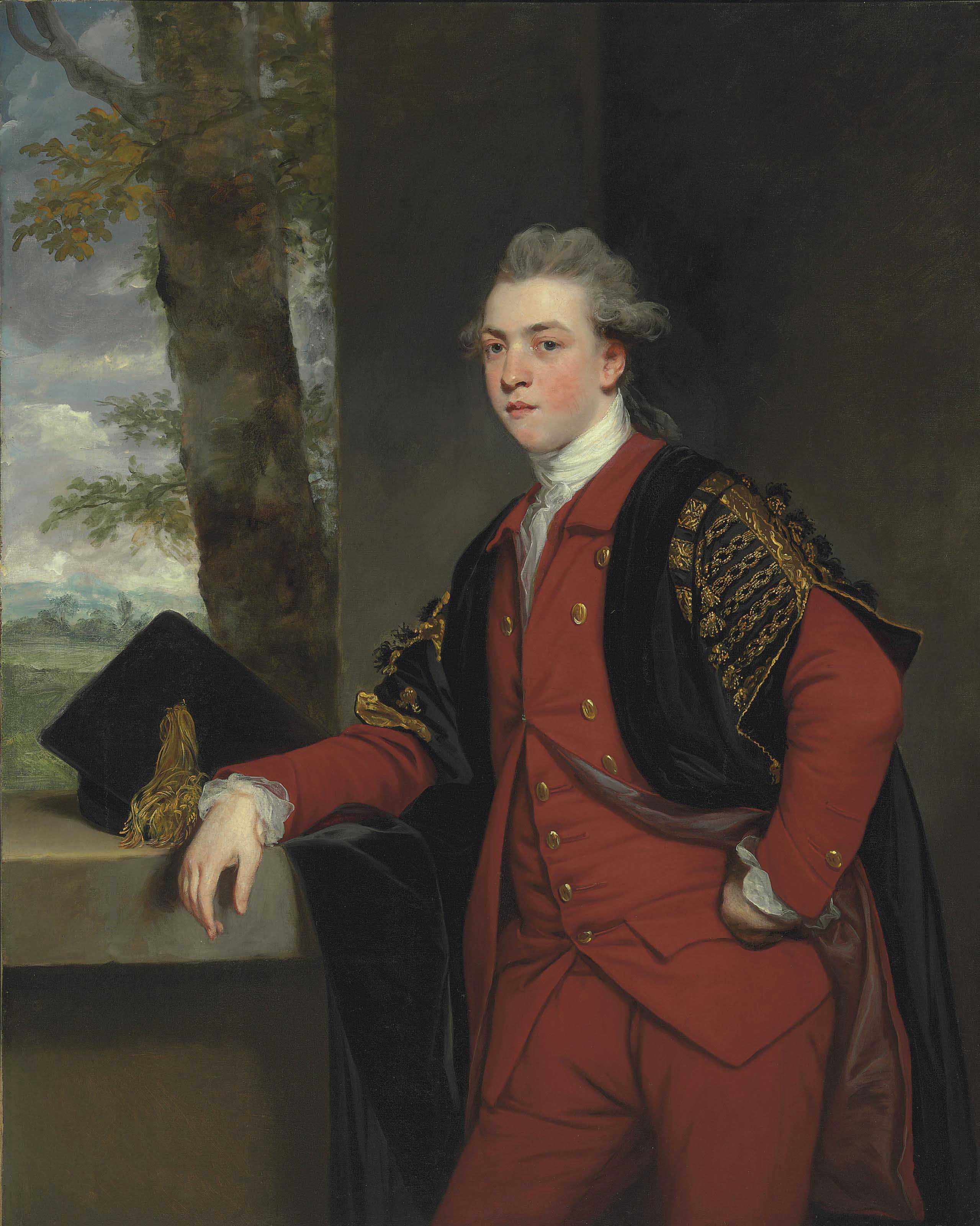 Portrait of Francis Basset, later 1st Baron de Dunstanville and Basset (1757-1835), standing three-quarter-length, in a red suit and undergraduate robes, a mortar-board on the wall beside him