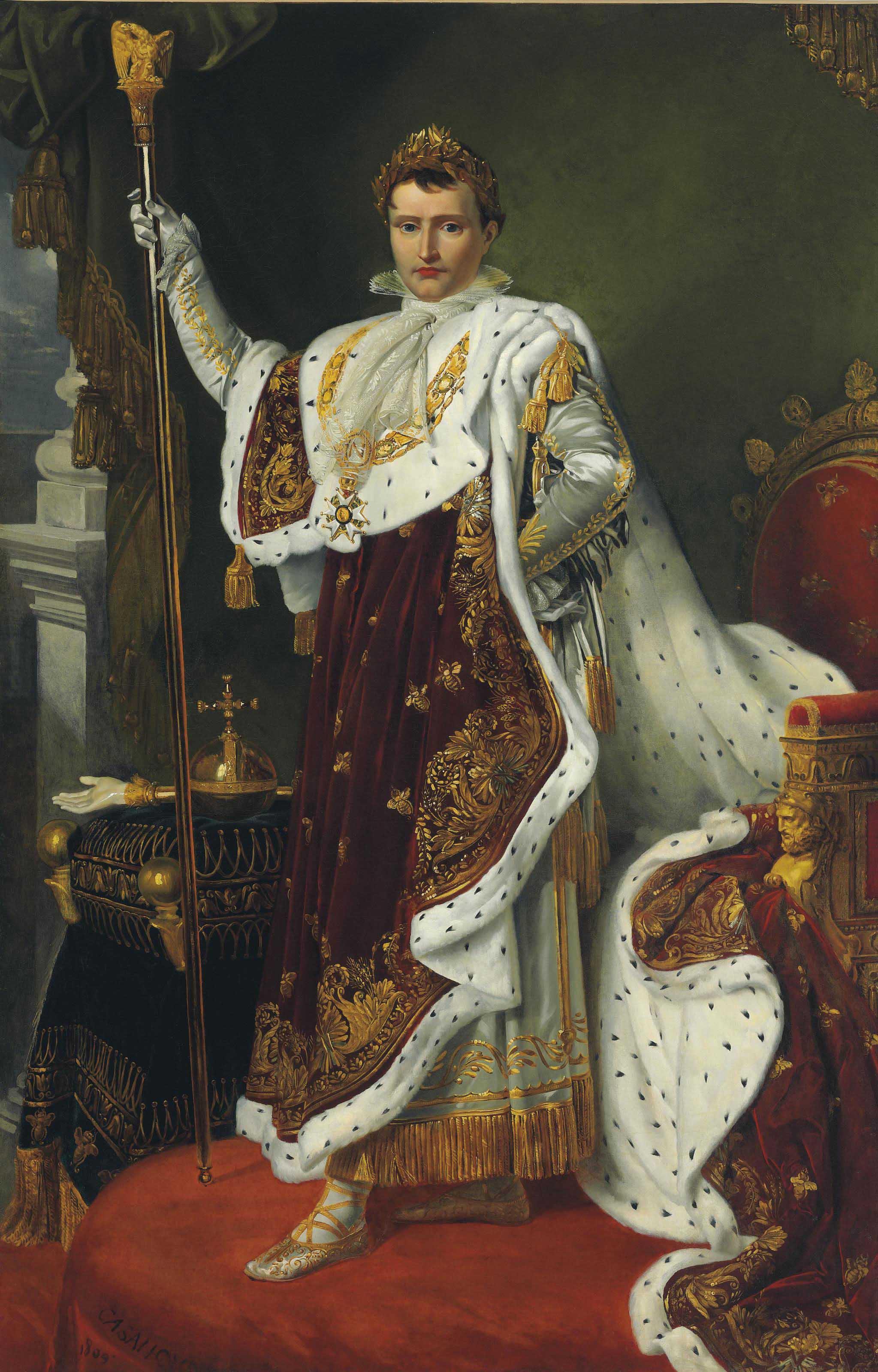 Portrait of the Emperor Napoleon Bonaparte (1769-1821), full-length, in coronation robes