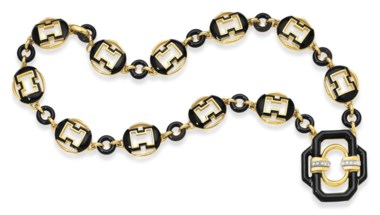 A diamond and enamel necklace, by David Webb. Sold for $52,500 on 14 June 2011 at Christie's in New York