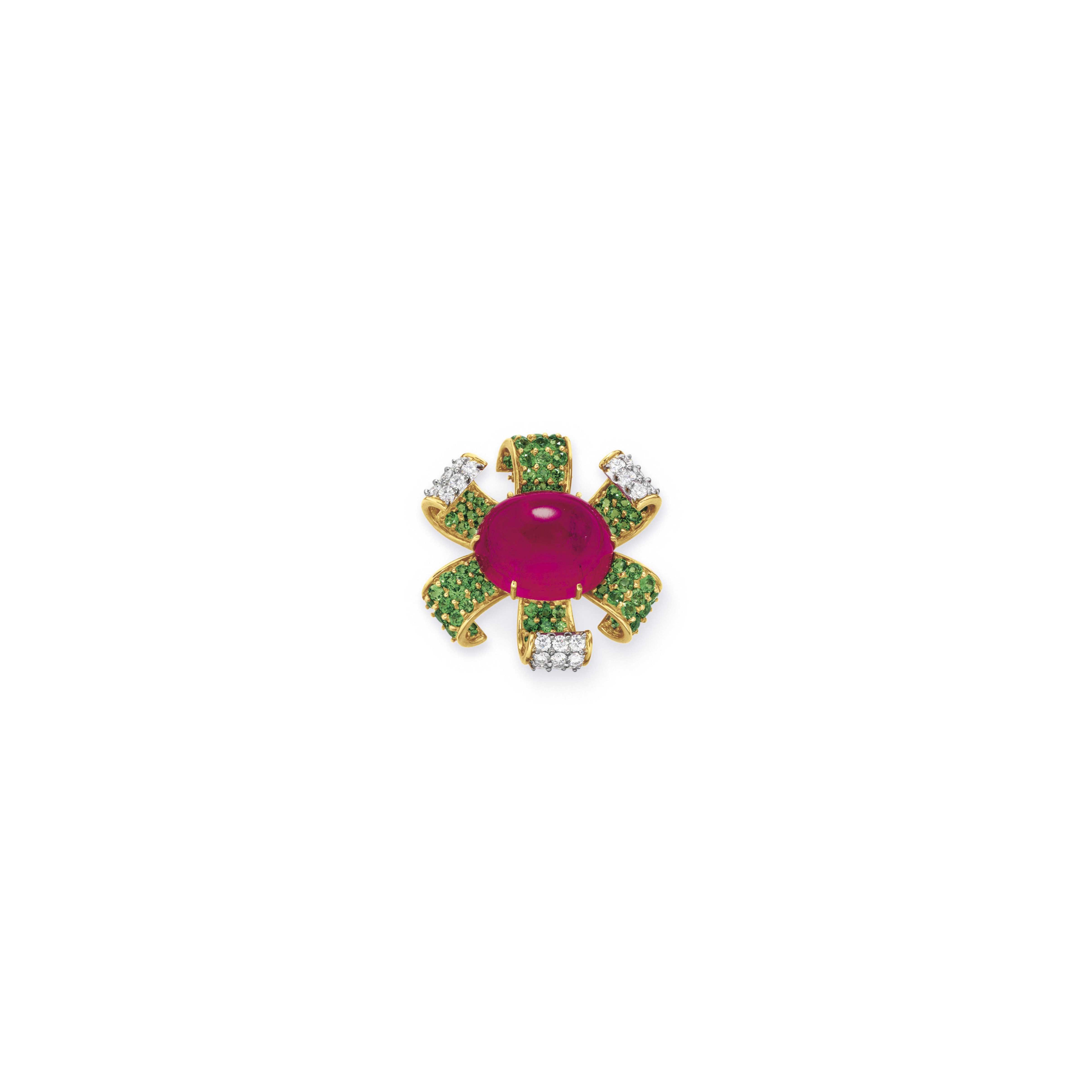 A TOURMALINE, DIAMOND AND GARNET BROOCH, BY PALOMA PICASSO, TIFFANY & CO.