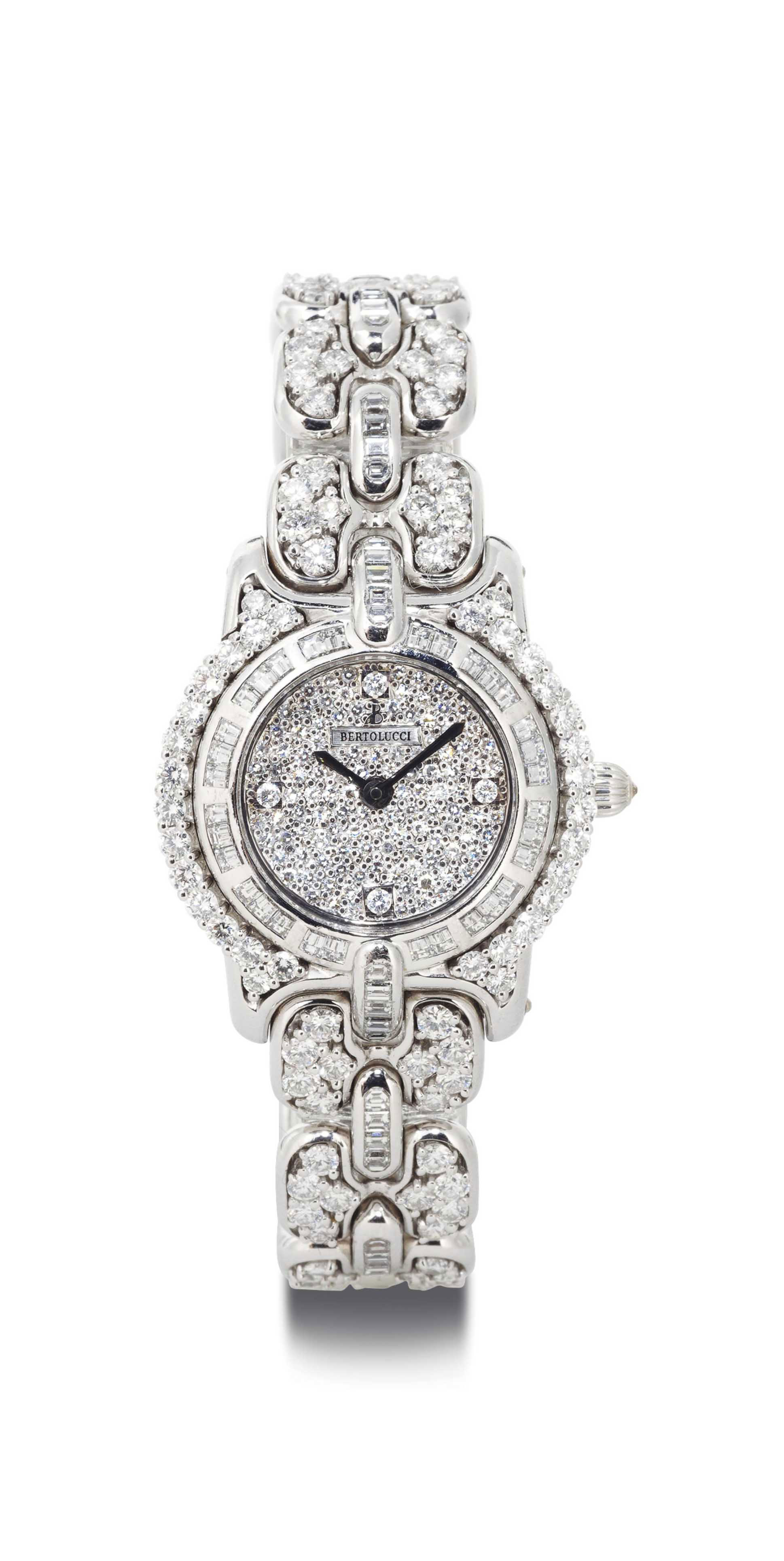 BERTOLUCCI. A LADY'S FINE 18K WHITE GOLD AND DIAMOND WRISTWATCH WITH BRACELET