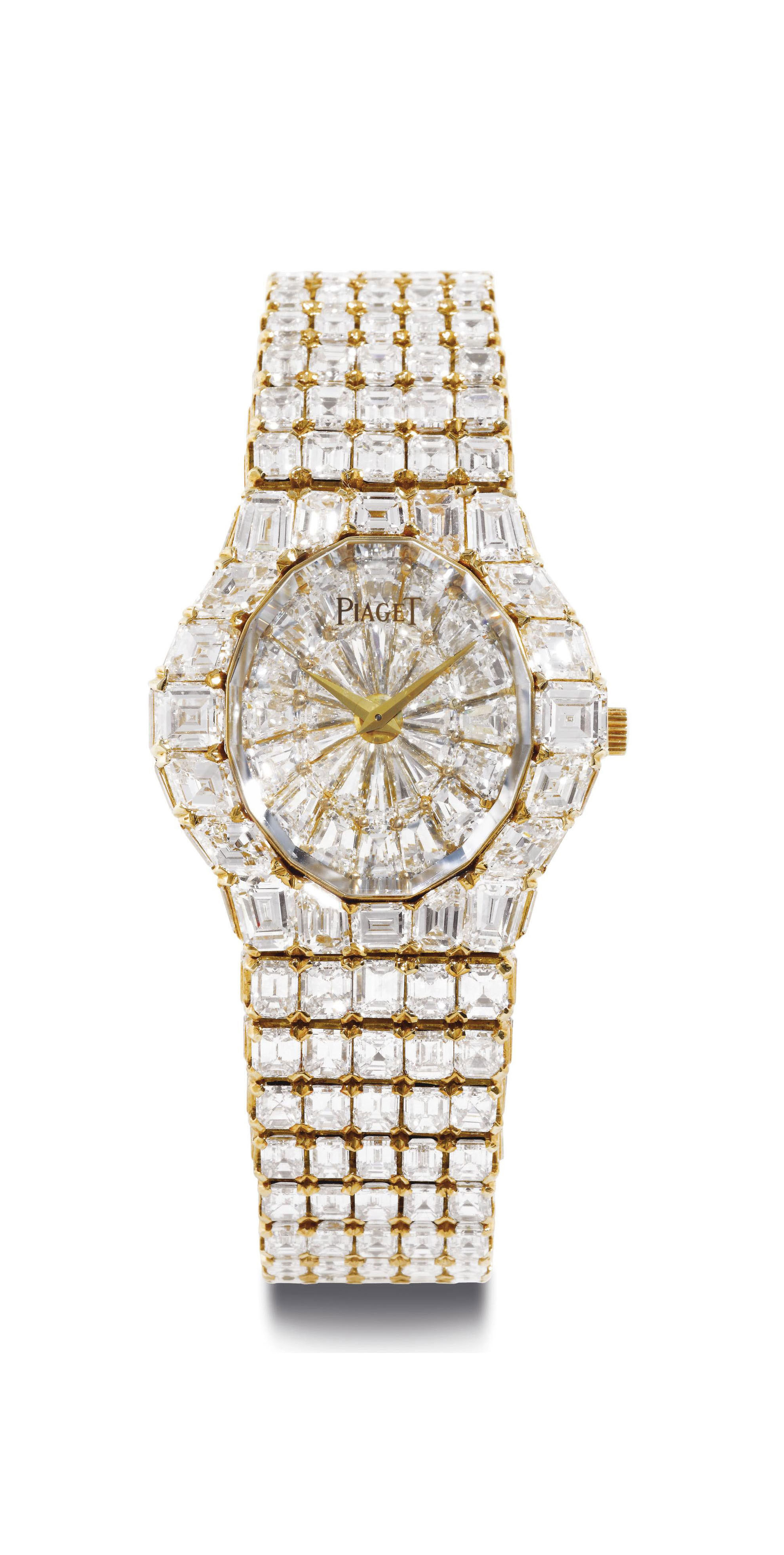 PIAGET. AN EXTREMELY RARE AND SUPERLATIVE 18K GOLD AND DIAMOND BRACELET WATCH
