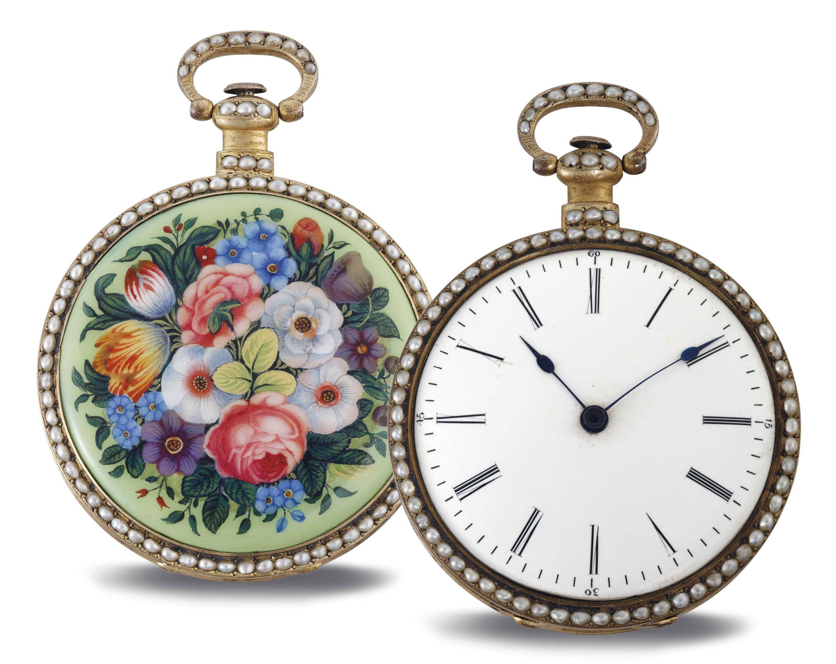 VAUCHER. A RARE GILT-BRASS, ENAMEL AND SPLIT-PEARL OPENFACE DUPLEX WATCH WITH CENTER SECONDS, MADE FOR THE CHINESE MARKET