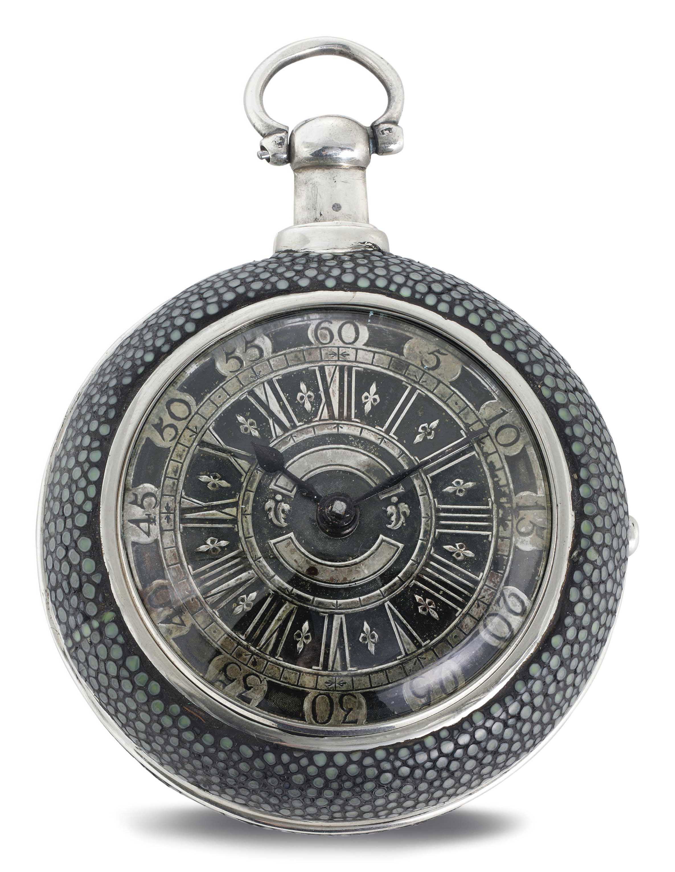MATTHEW & THOMAS DUTTON. A REPEATING VERGE WATCH WITH ASSOCIATED SHAGREEN CASE