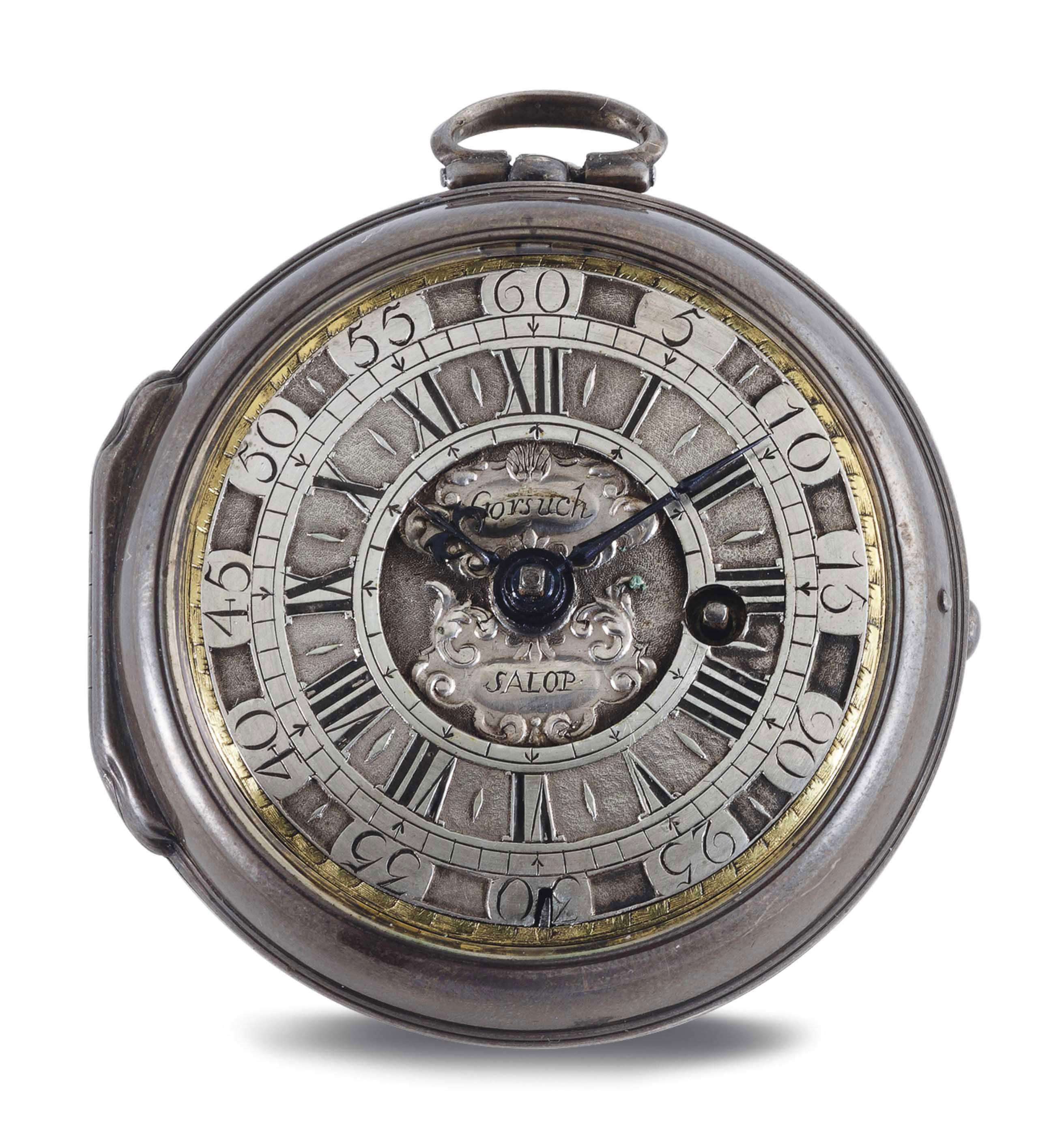 THOMAS GORSUCH. A SILVER OPENFACE VERGE POCKET WATCH WITH MOCK PENDULUM