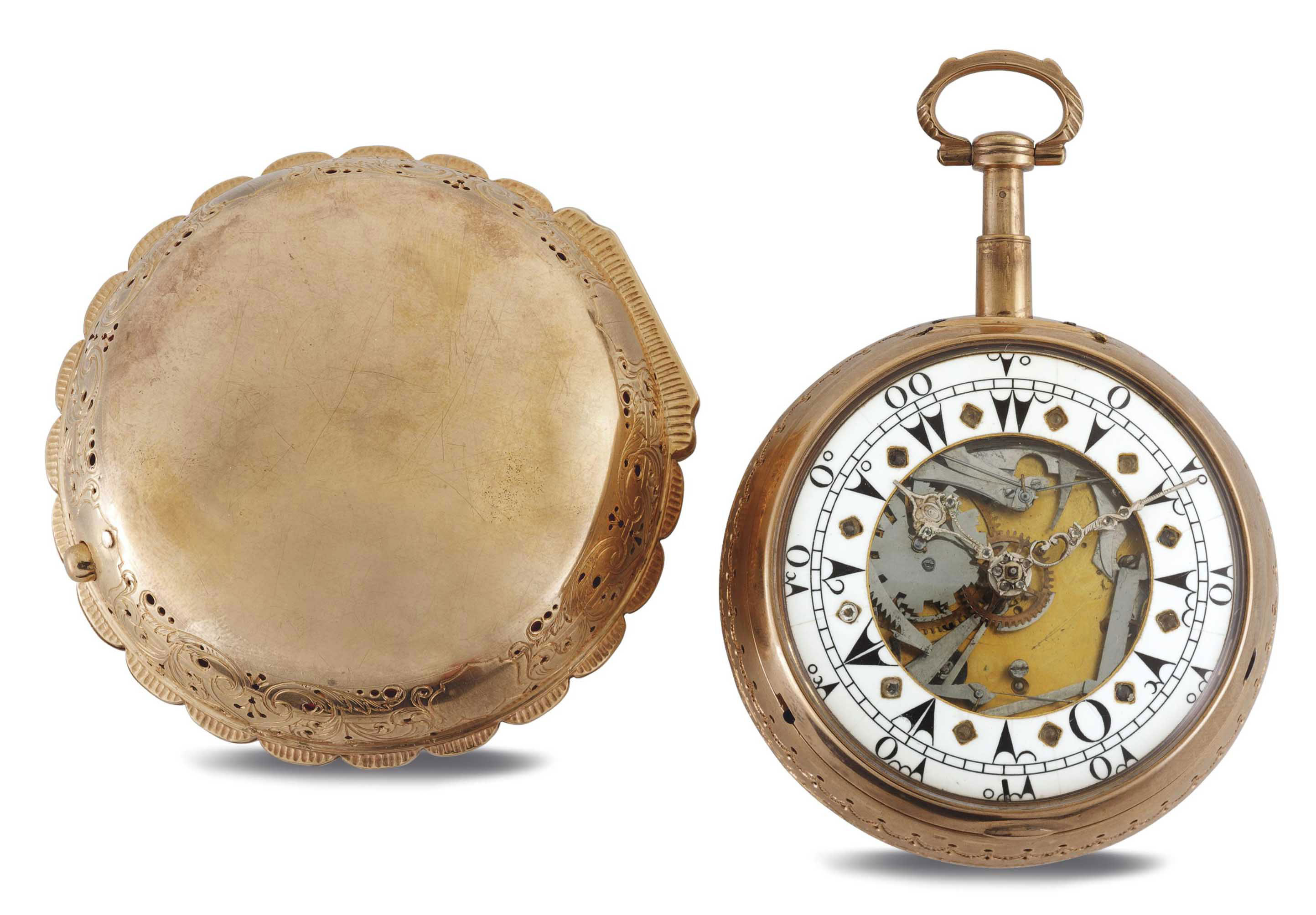 MARKWICK MARKHAM. AN PINK GILT SKELETONIZED TWO-TRAIN QUARTER REPEATING GRANDE AND PETITE SONNERIE CLOCKWATCH MADE FOR THE TURKISH MARKET