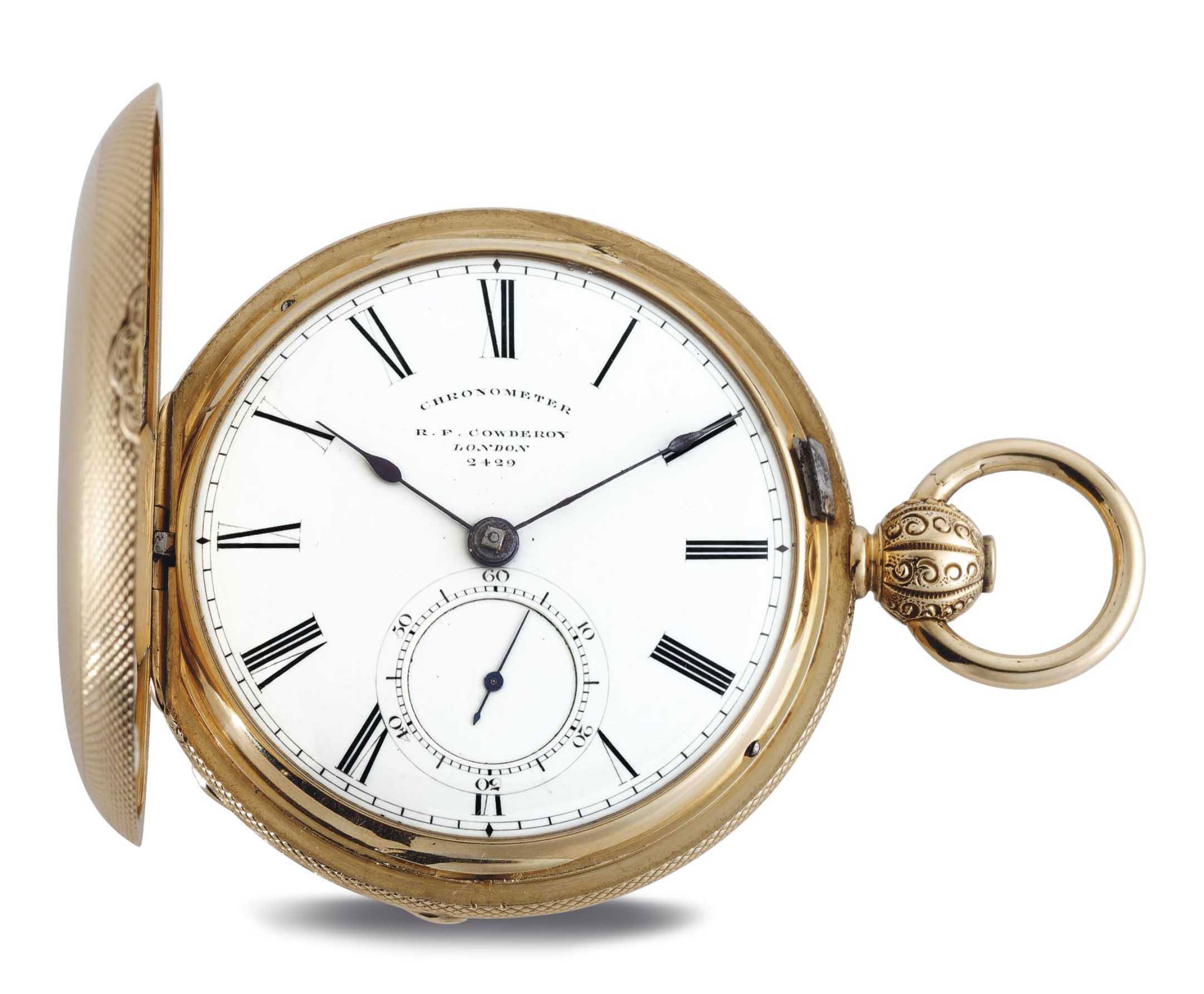 R.F. COWDEROY. AN 18K GOLD HUNTER CASE POCKET CHRONOMETER