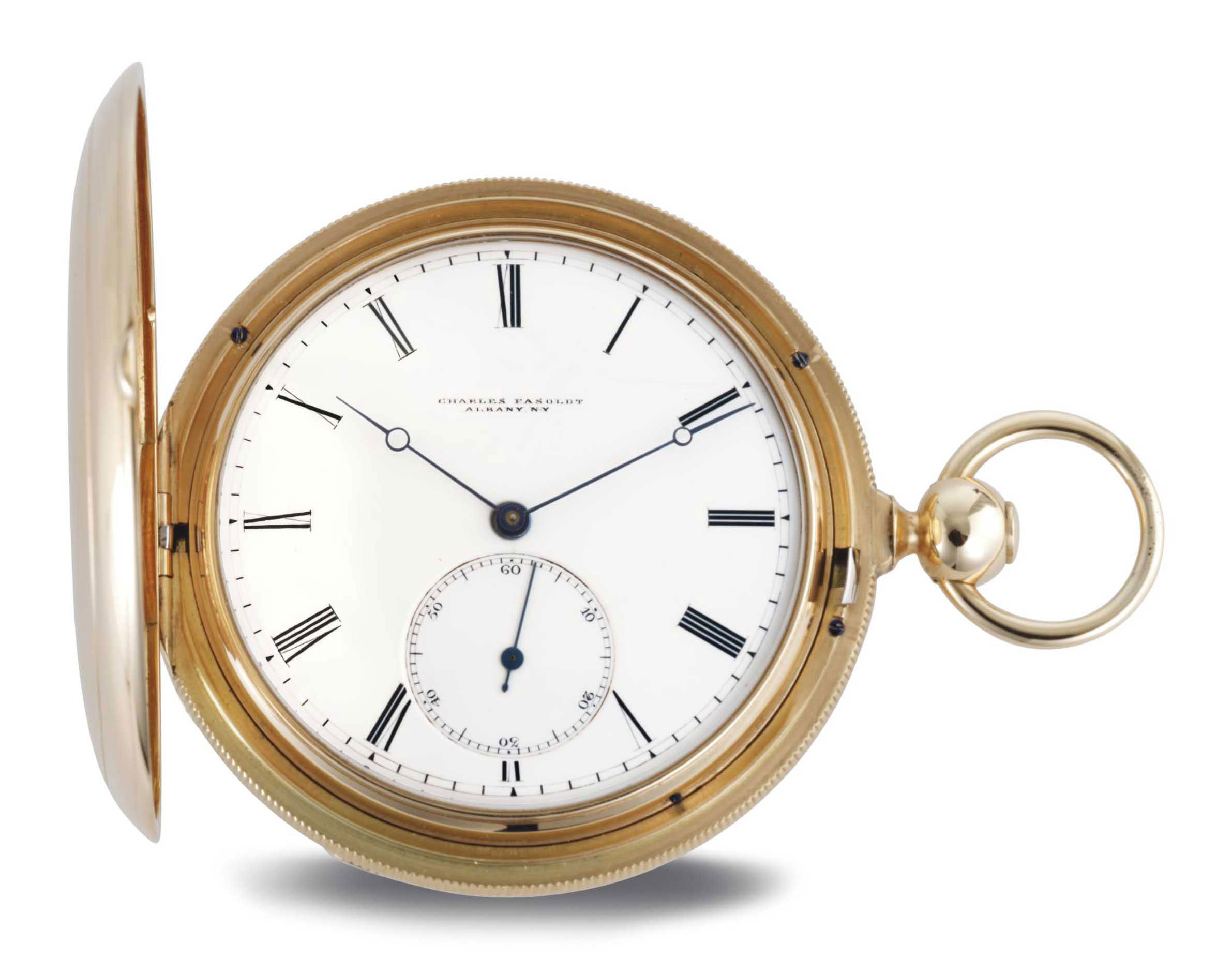 CHARLES FASOLDT. A FINE AND RARE 18K GOLD CABRIOLET KEYWOUND ISOCHRONAL POCKET CHRONOMETER