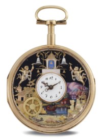 SWISS. AN 18K PINK GOLD AND ENAMEL QUARTER REPEATING OPENFACE KEY WOUND AUTOMATON WATCH