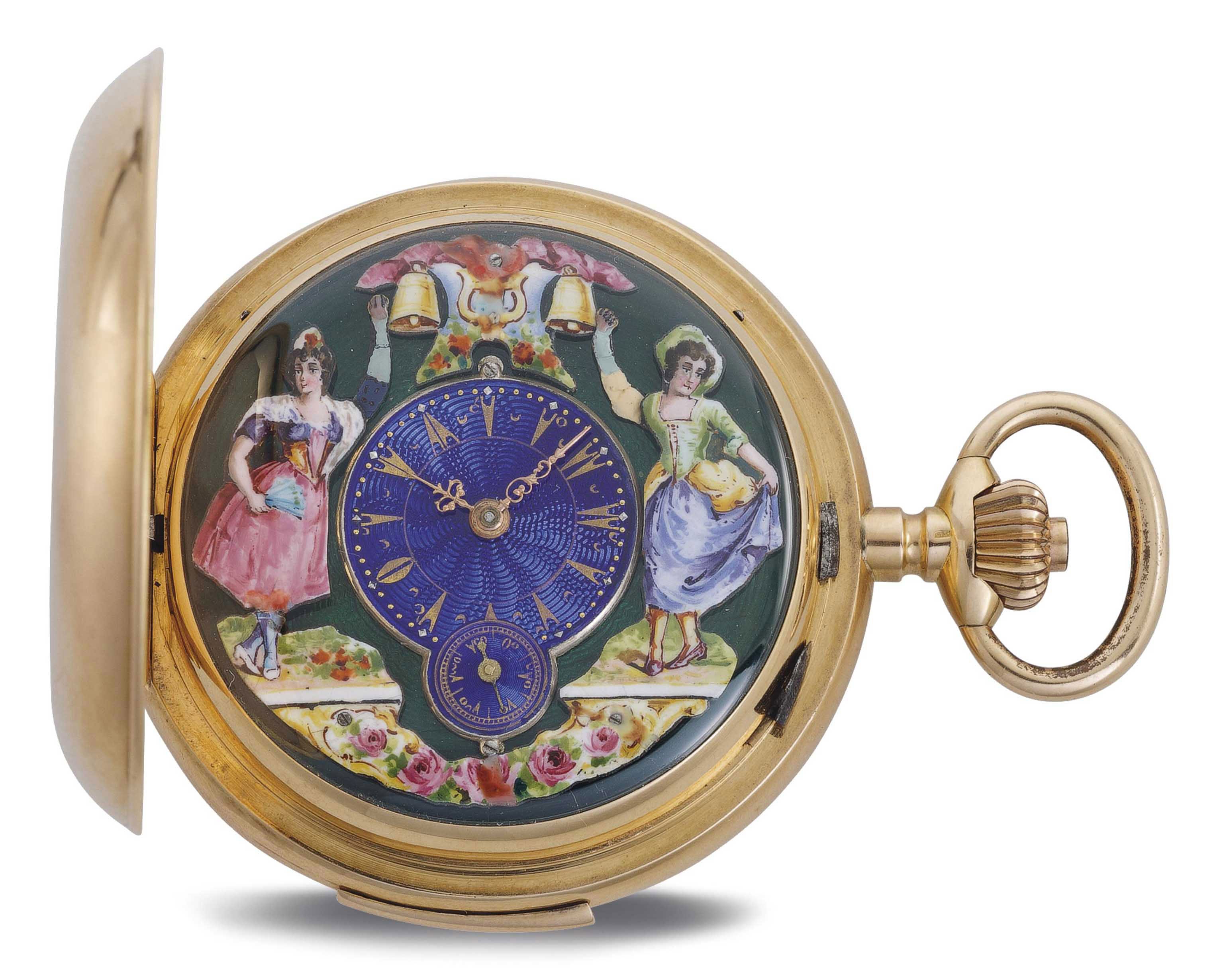 INVICTA. A RARE 18K PINK GOLD HUNTER CASE MINUTE REPEATING KEYLESS LEVER POCKET WATCH WITH JACQUEMARTS MADE FOR THE TURKISH MARKET