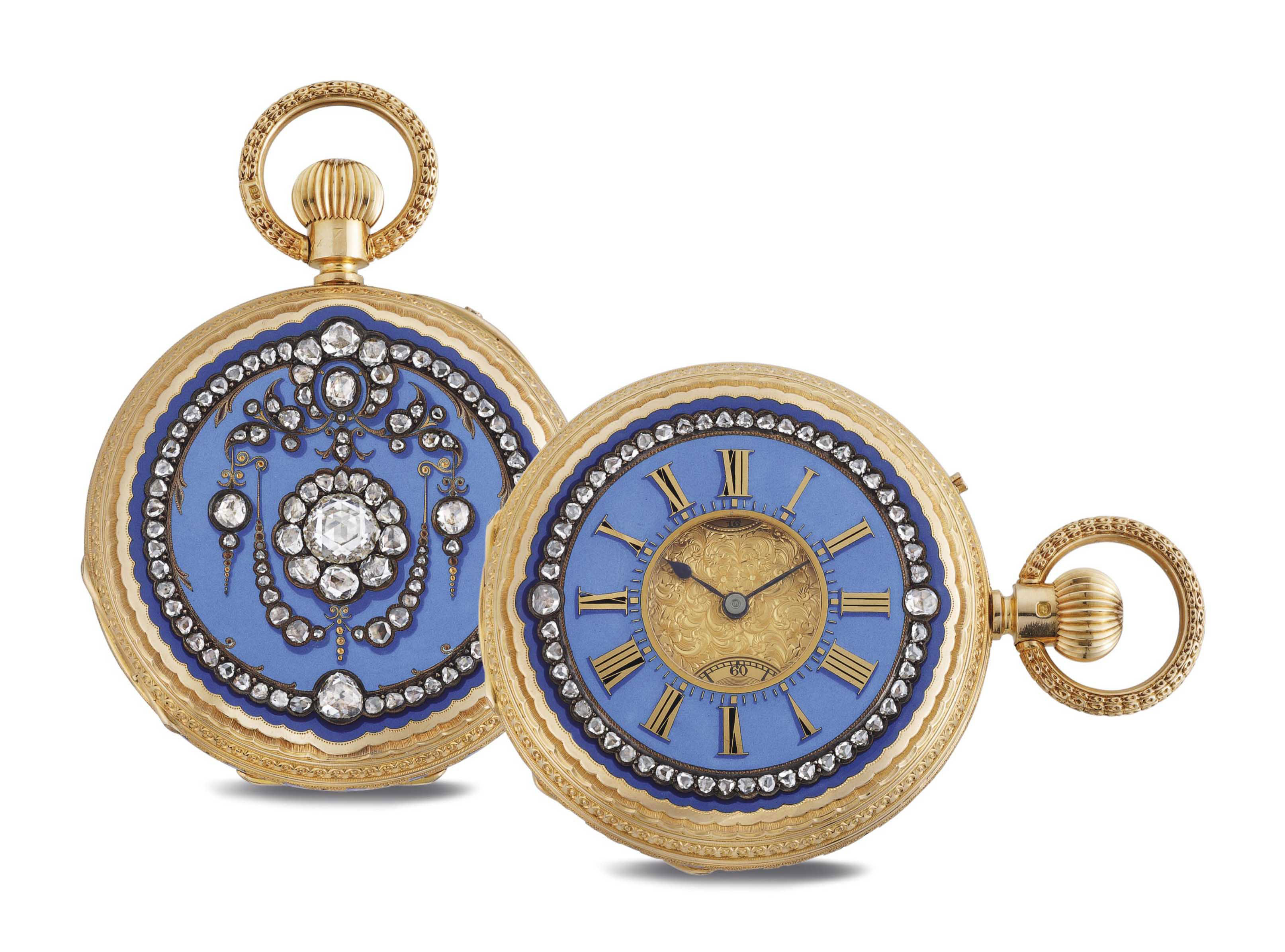 HAMILTON & CO. A FINE 18K GOLD, ENAMEL AND PASTE-SET KEY WOUND POCKET WATCH WITH UP AND DOWN, MADE FOR THE INDIAN MARKET