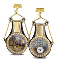 SWISS. A FINE AND VERY RARE 18K GOLD, ENAMEL AND PEARL-SET LYRE-FORM MUSICAL WATCH WITH THREE FIGURE AUTOMATON AND VISIBLE BALANCE, MADE FOR THE CHINESE MARKET