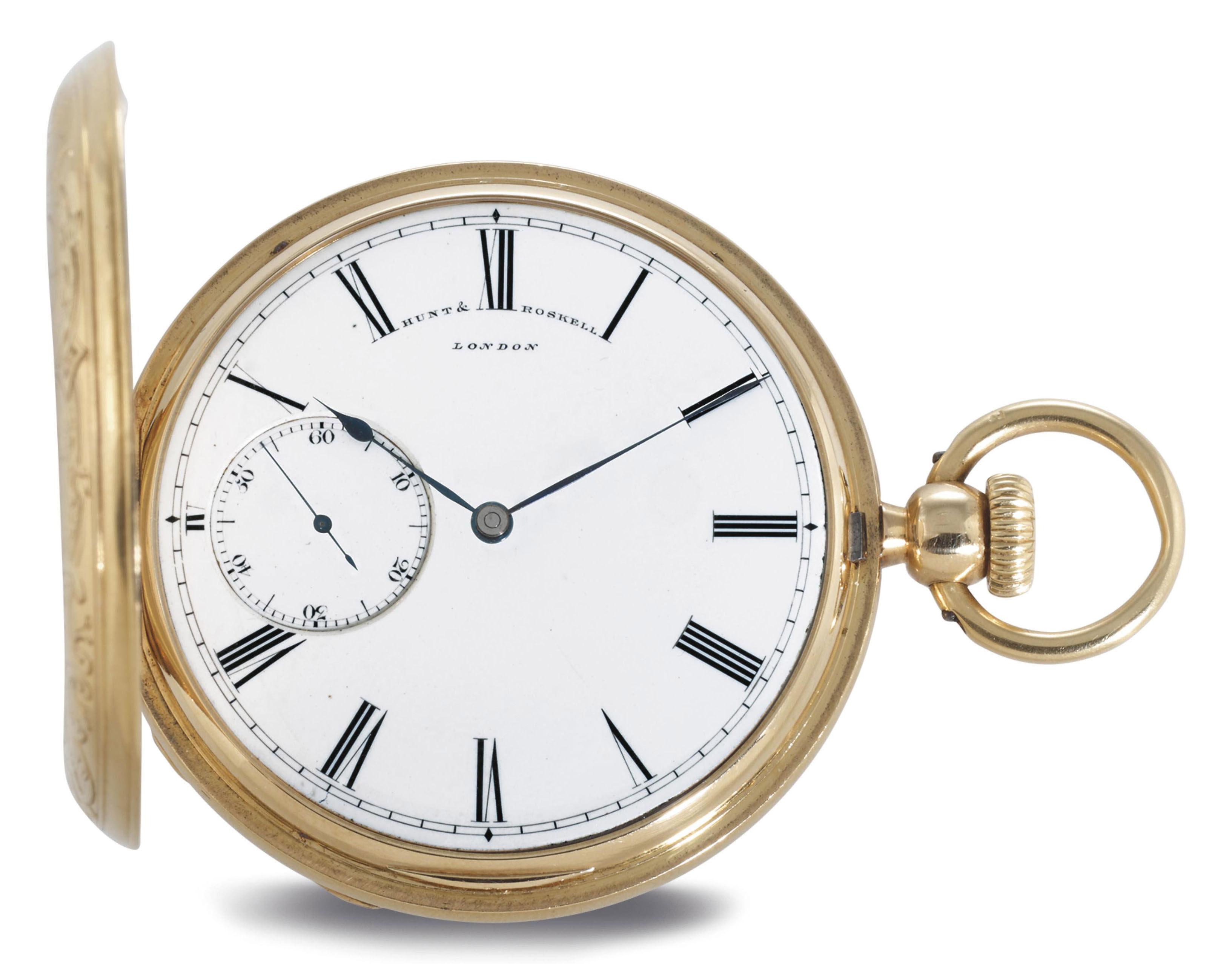 HUNT & ROSKELL. AN 18K GOLD HUNTER CASE DETENT POCKET CHRONOMETER WITH ECCENTRIC SECONDS