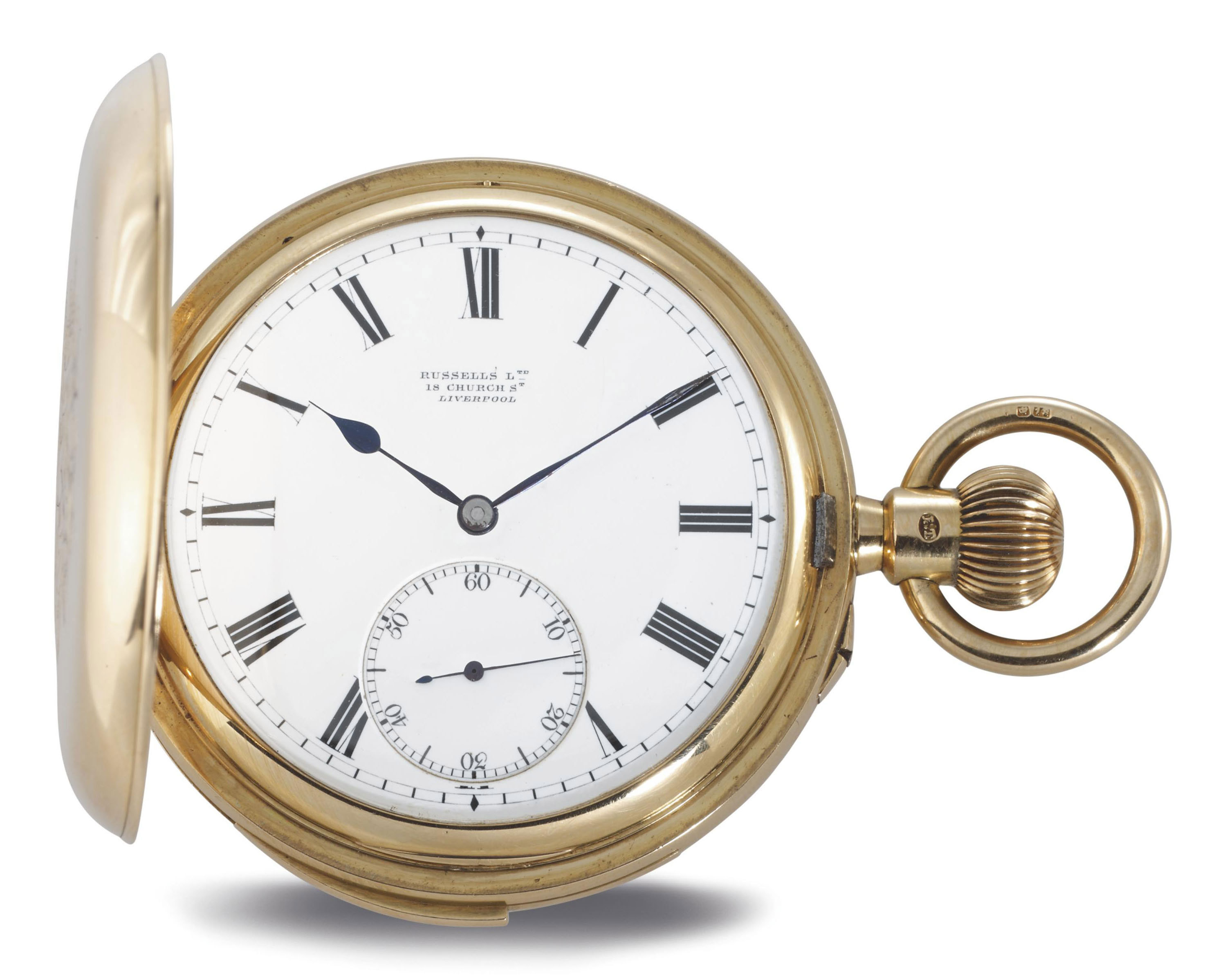 RUSSELL'S LTD. A RARE 18K GOLD HUNTER CASE MINUTE REPEATING KEYLESS LEVER POCKET WATCH WITH PRESENTATION INSCRIPTION