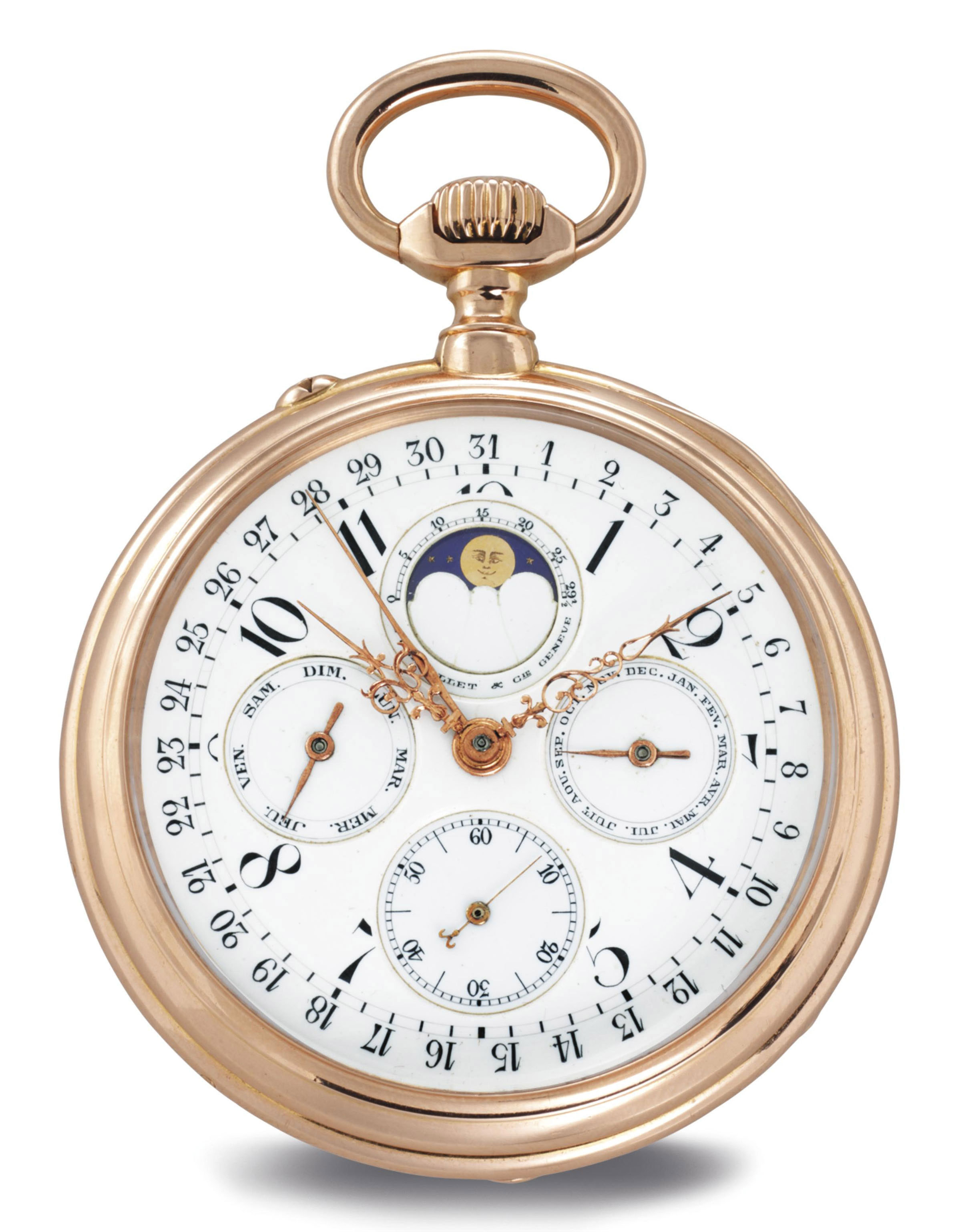 BADOLLET & CO. AN 18K PINK GOLD OPENFACE TRIPLE CALENDAR KEYLESS LEVER POCKET WATCH WITH MOON PHASES