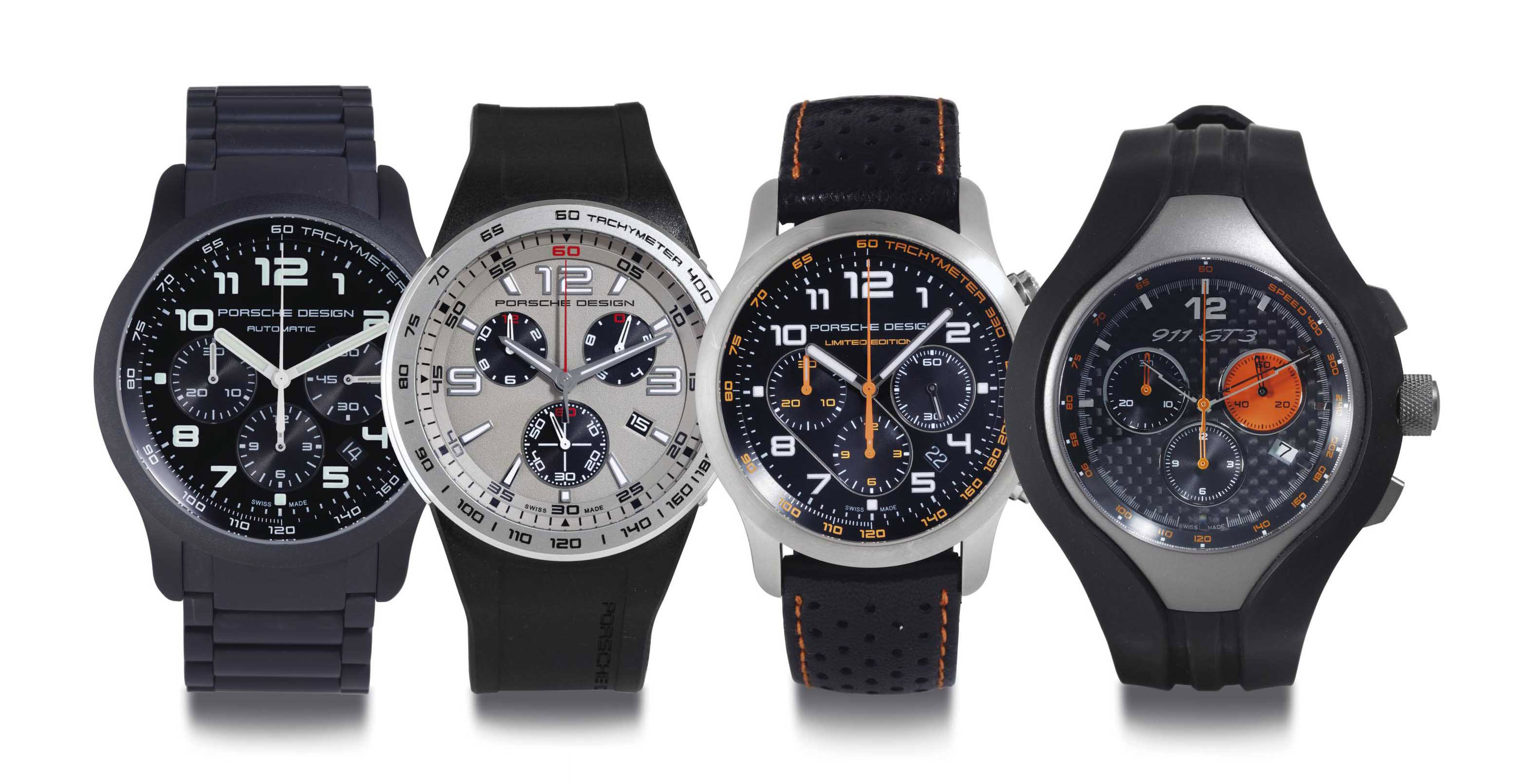 PORSCHE DESIGN. A LOT OF FOUR CHRONOGRAPH WRISTWATCHES