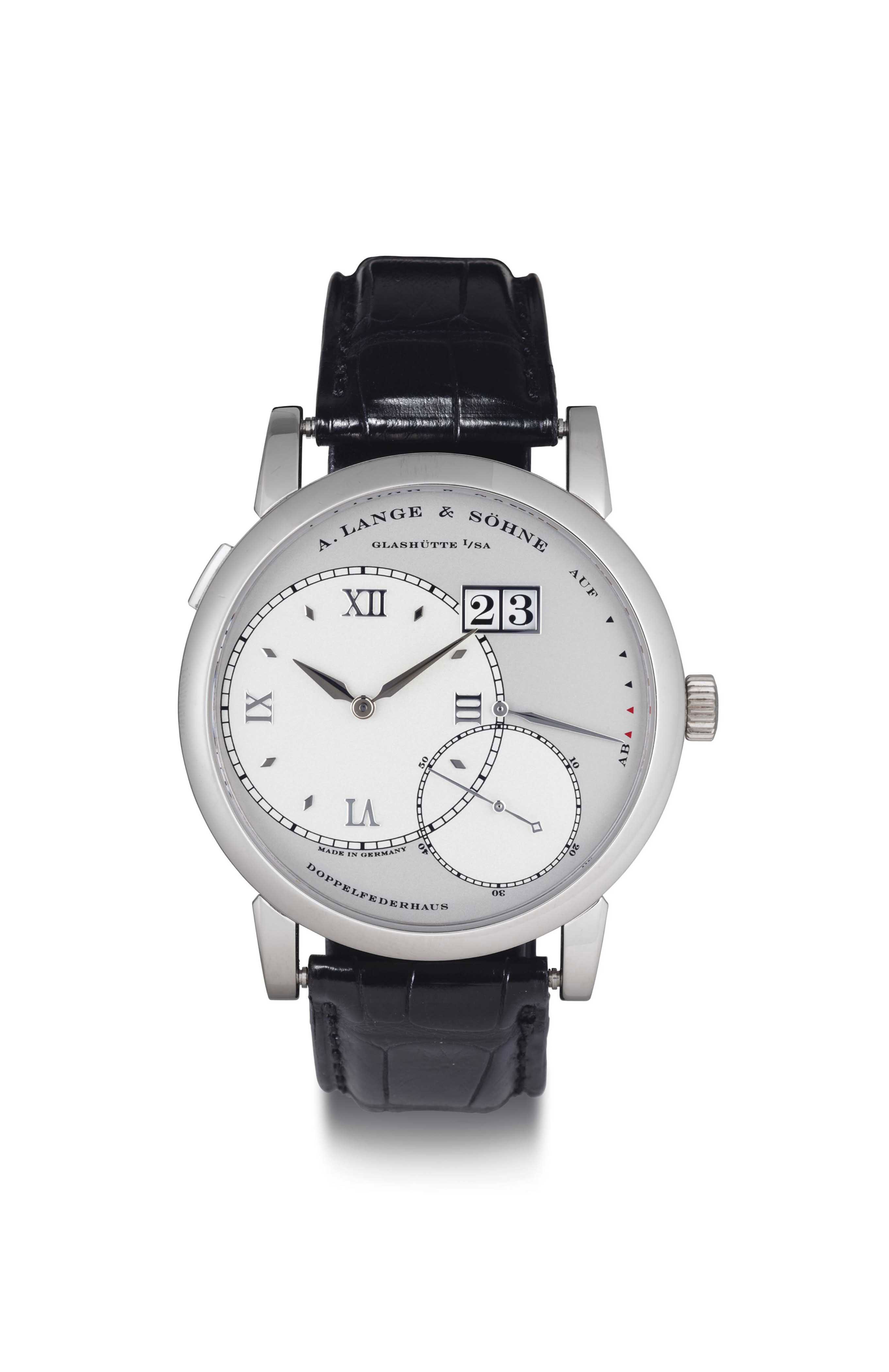 A. LANGE & SÖHNE.  A FINE PLATINUM WRISTWATCH WITH DATE AND POWER RESERVE
