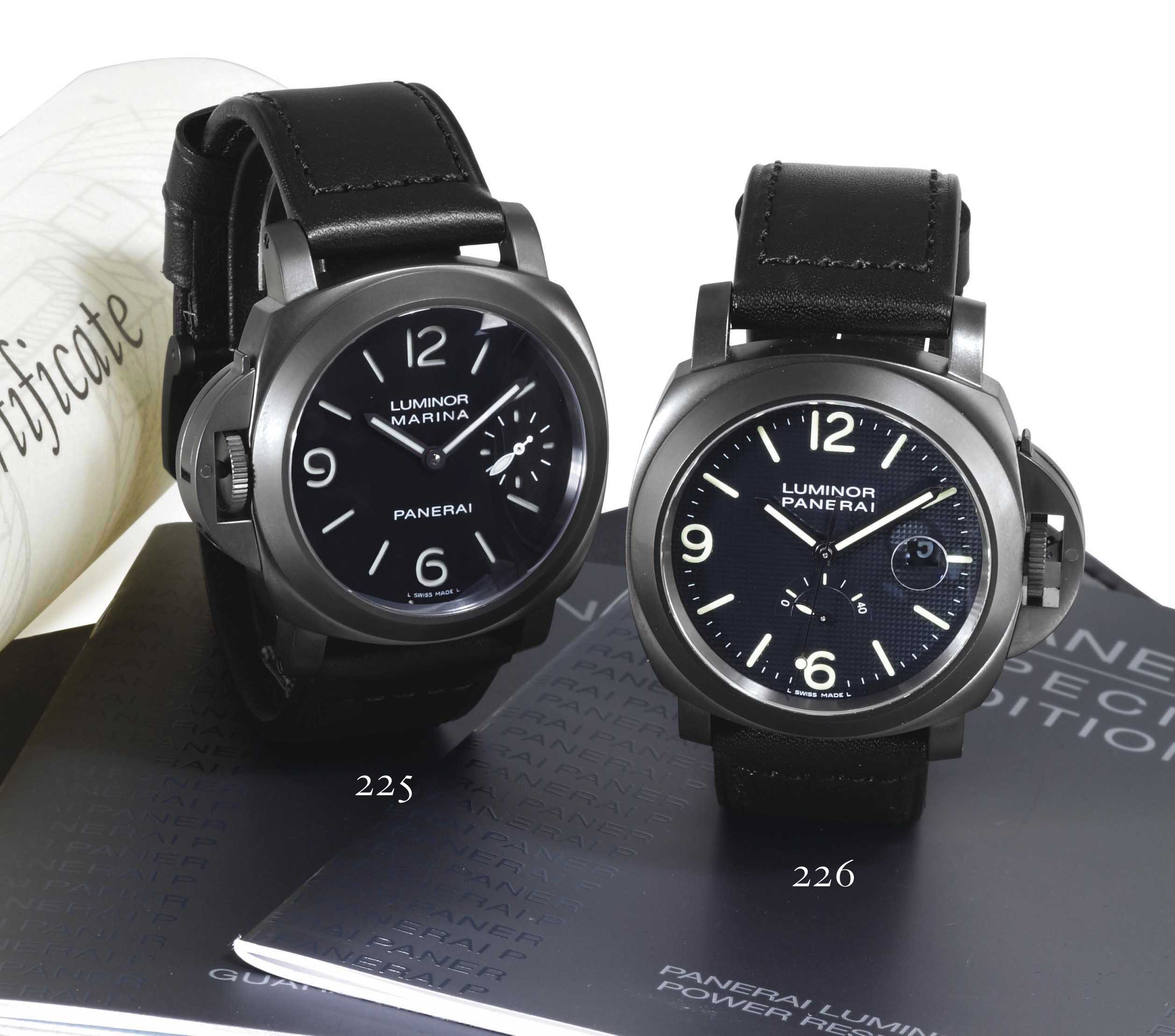 PANERAI. A LIMITED EDITION BLACKENED STAINLESS STEEL AUTOMATIC LEFT HANDED  WRISTWATCH WITH DATE a2209f793