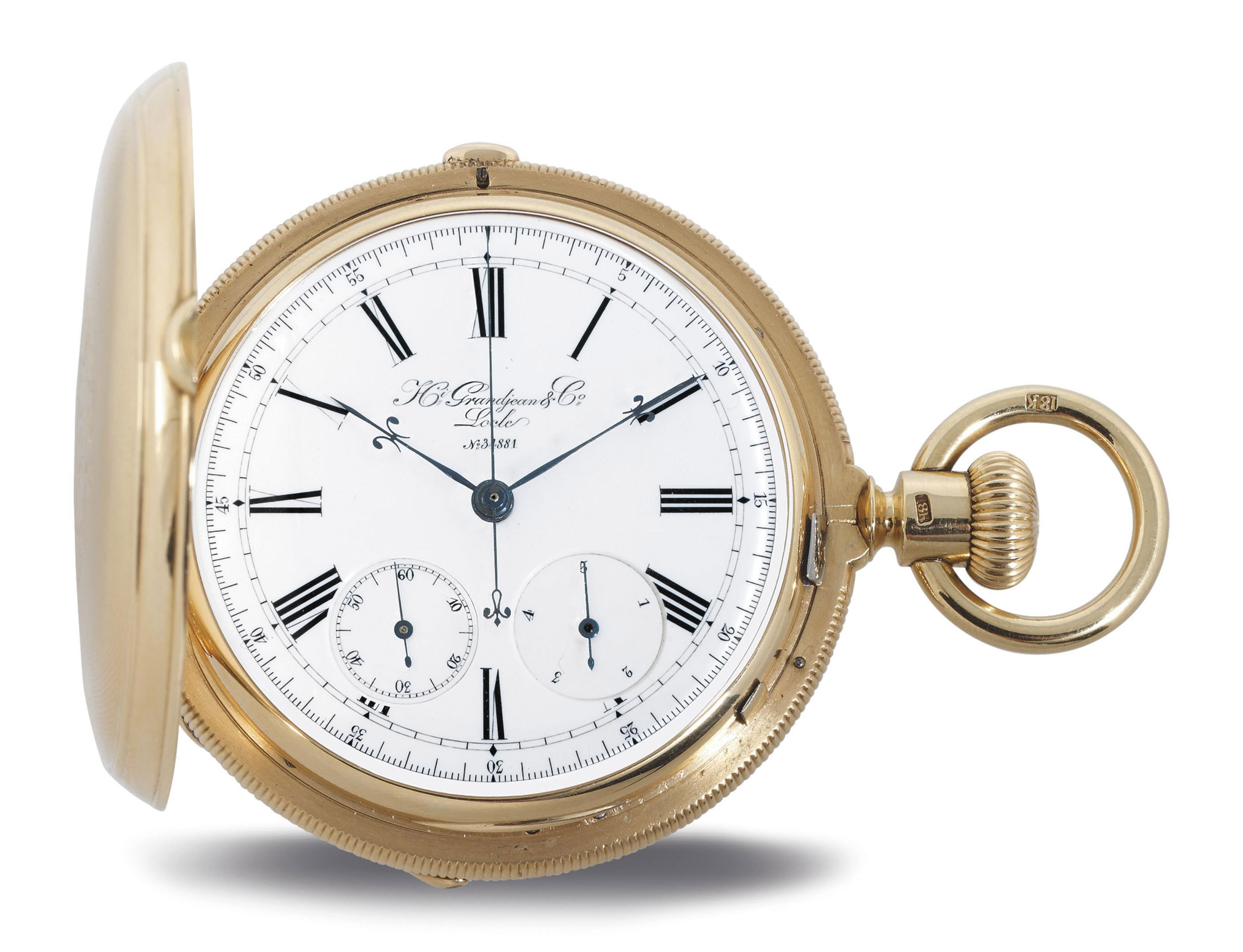 GRANDJEAN.  A FINE HEAVY 18K GOLD TWO-TRAIN HUNTER CASE KEYLESS LEVER WATCH WITH INDEPENDENT SECONDS AND JUMP FIFTH SECONDS