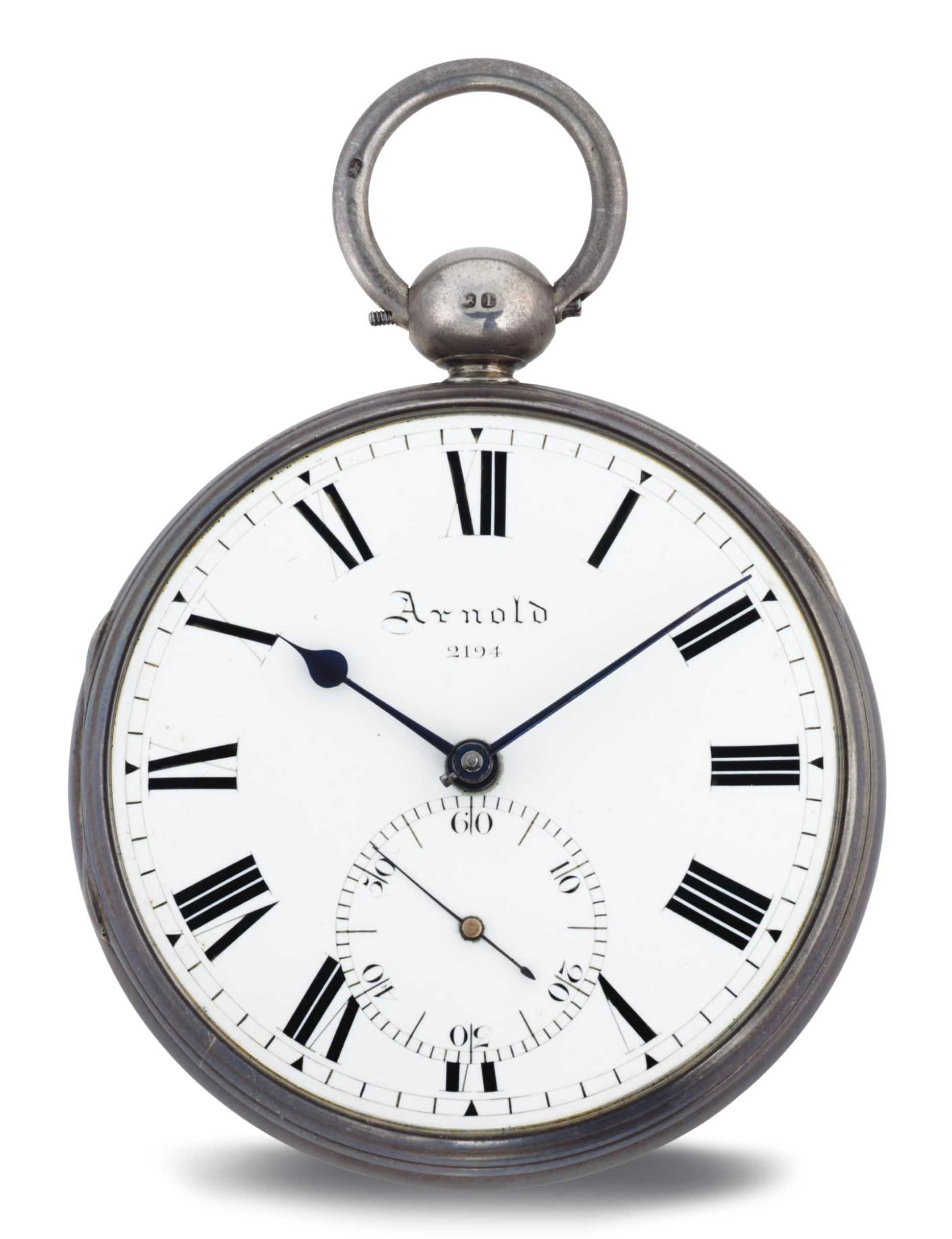 ARNOLD. A SILVER OPENFACE POCKET CHRONOMETER WITH FITTED WOOD BOX