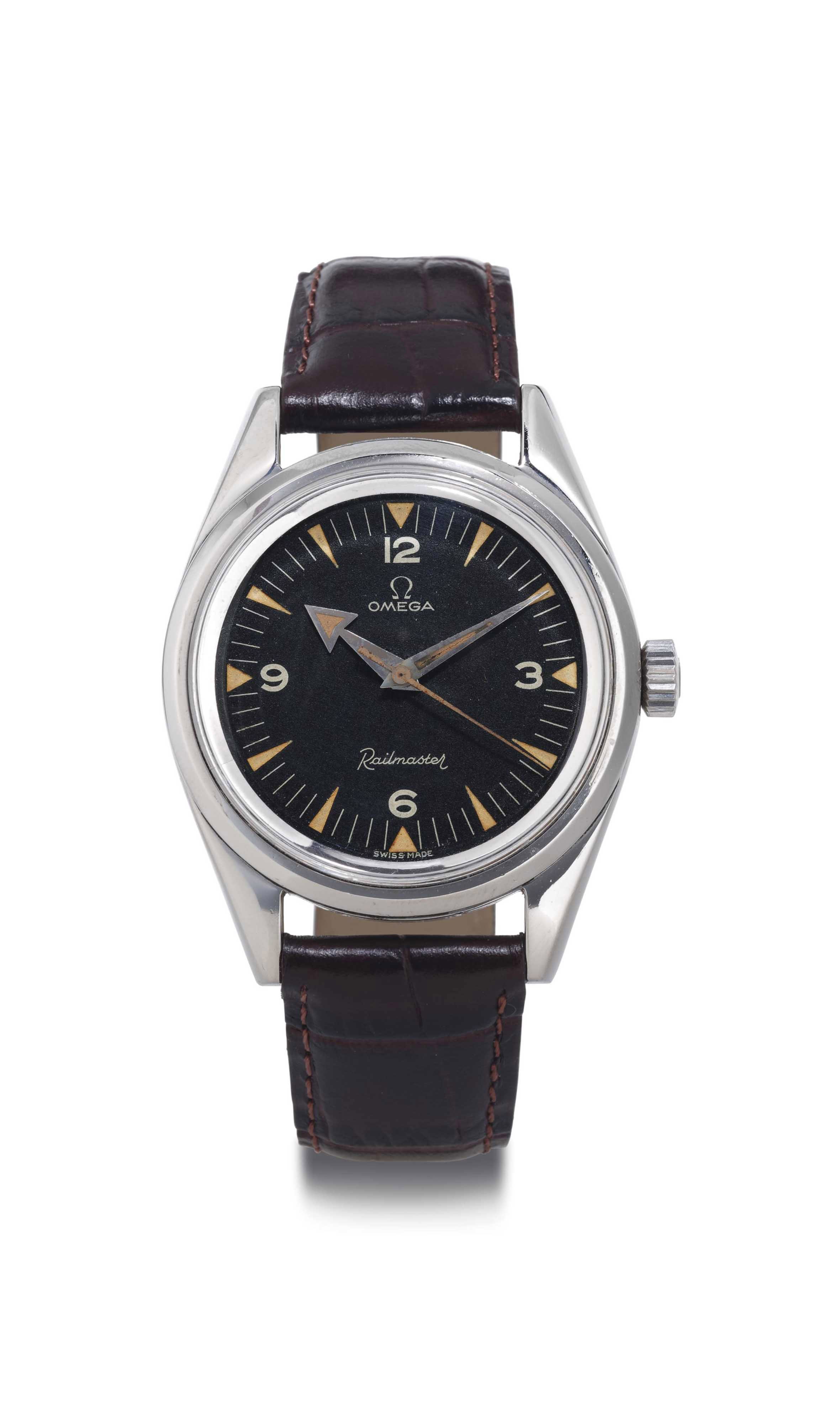 OMEGA.  A FINE AND RARE STAINLESS STEEL WRISTWATCH WITH CENTER SECONDS AND BLACK DIAL.