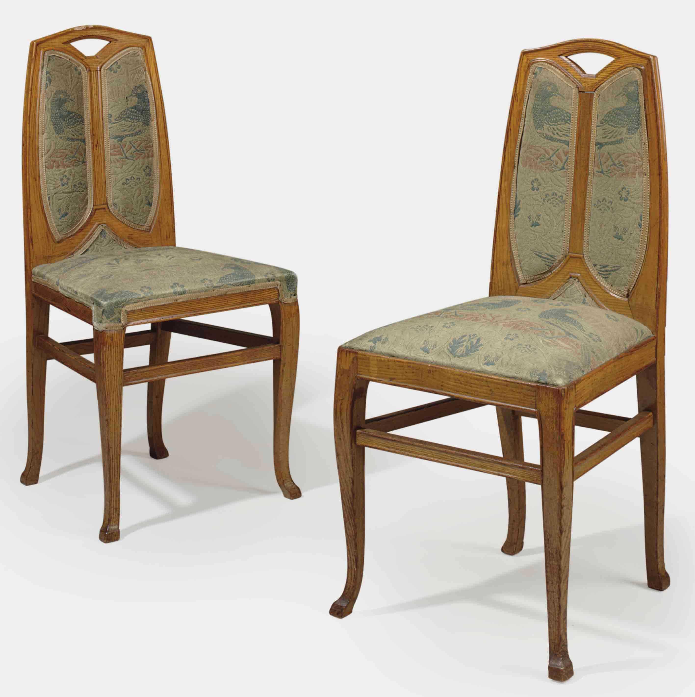 henry van de velde 1863 1957 a pair of upholstered oak side chairs circa 1903 christie 39 s. Black Bedroom Furniture Sets. Home Design Ideas