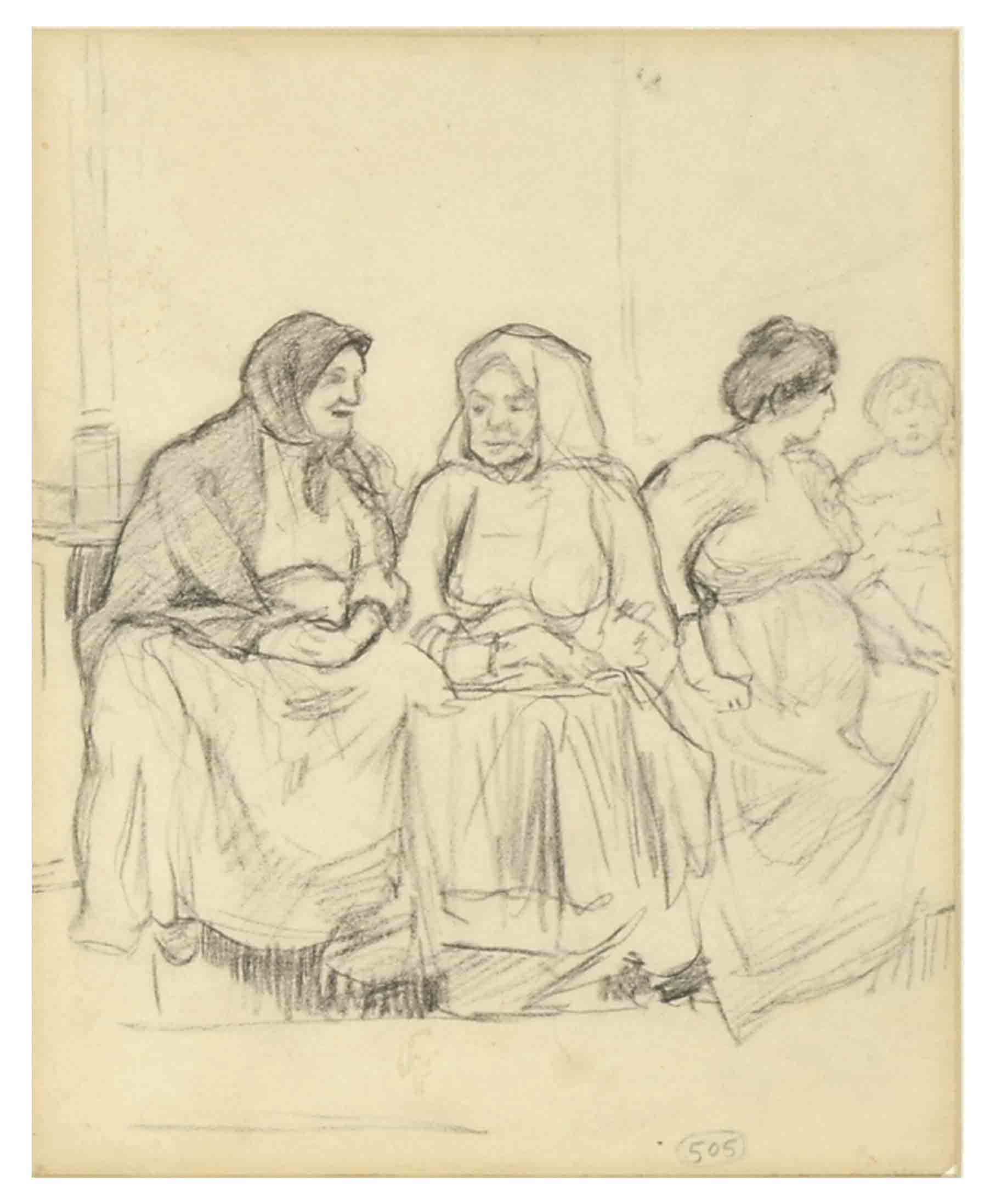 Three seated women and a child