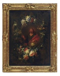 The Virgin Annunciate in a carved niche with a floral garland; and Christ as Salvator Mundi in a carved niche with a floral garland