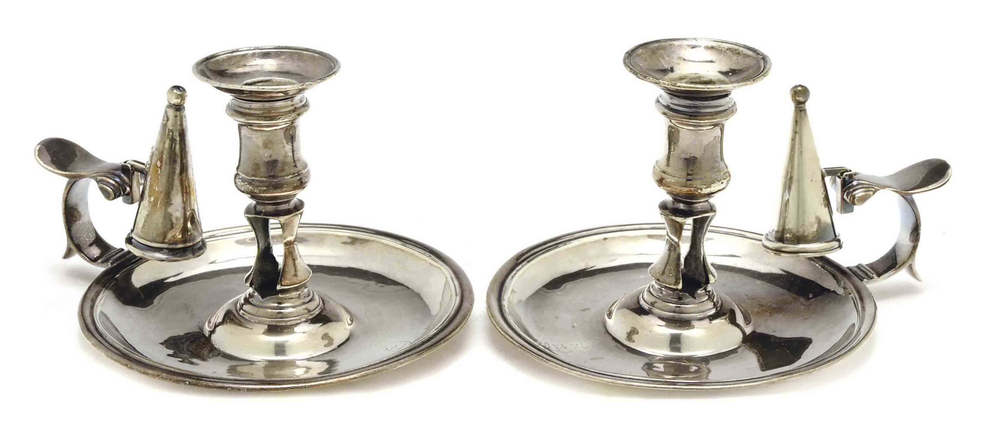 A PAIR OF GEORGE II SILVER CHAMBERSTICKS,