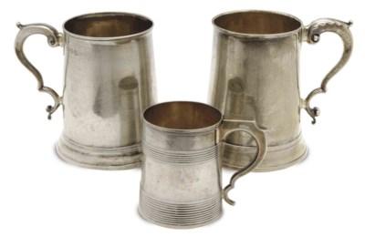 THREE GEORGE III SILVER MUGS,