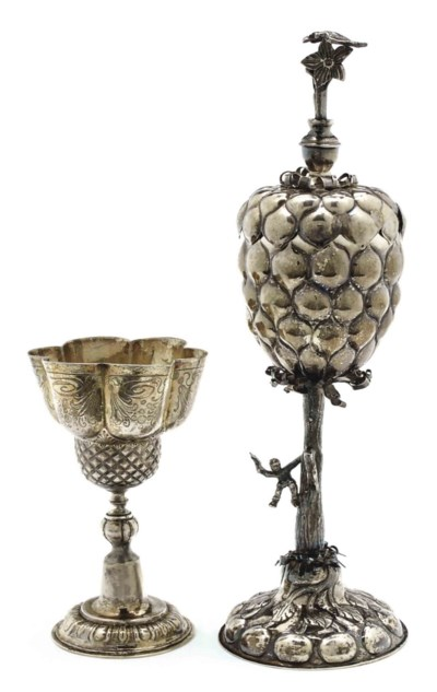 A GERMAN SILVER-GILT LOBED CUP