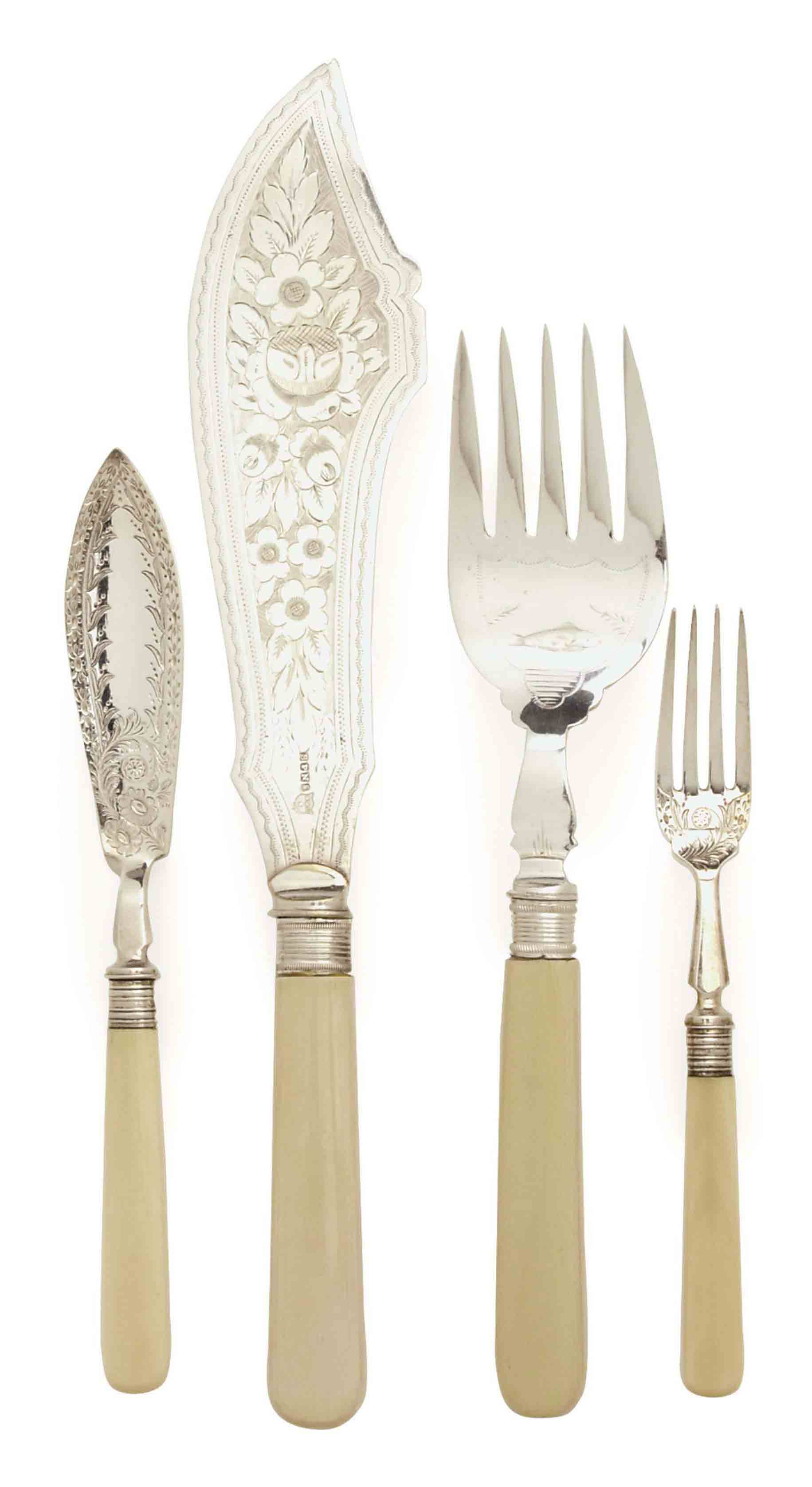 A VICTORIAN IVORY AND SILVER PLATE FISH SERVICE,