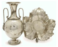 AN AMERICAN SILVER LEAF-FORM DISH, AND A NEOCLASSICAL VASE,