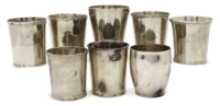 EIGHT AMERICAN SILVER BEAKER CUPS,