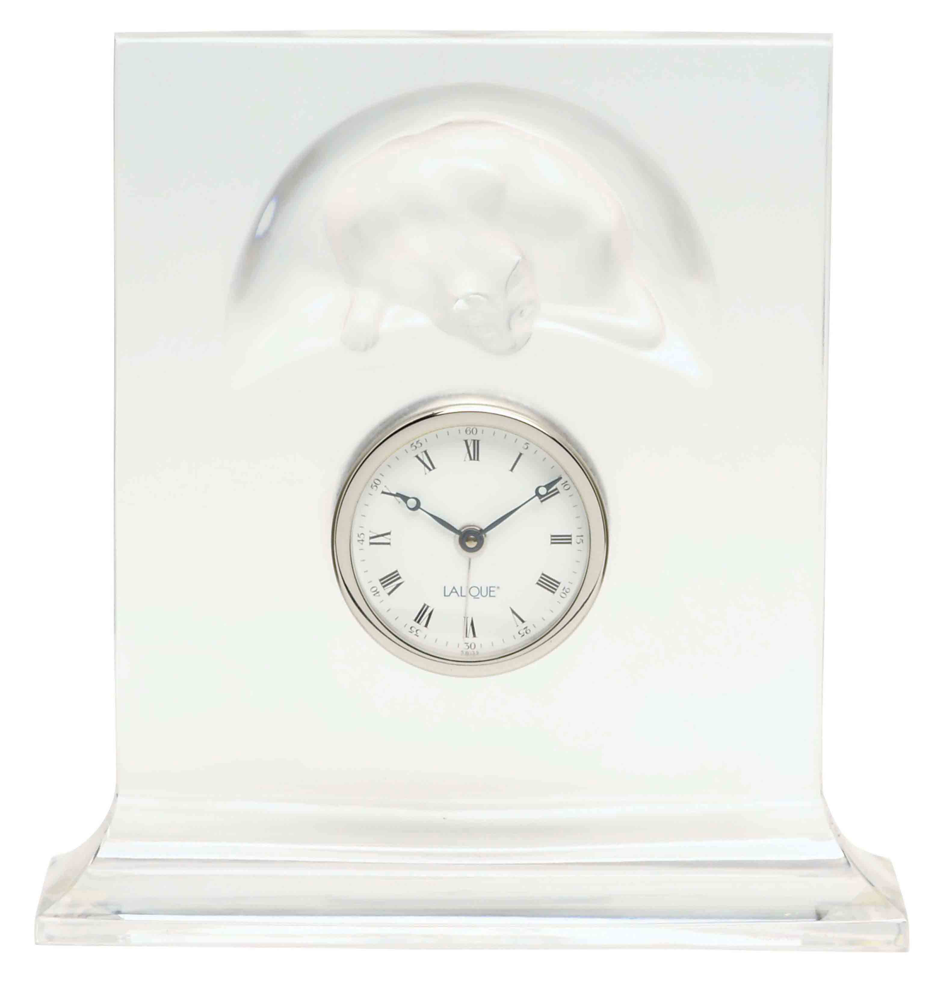 A FRENCH GLASS CLOCK,