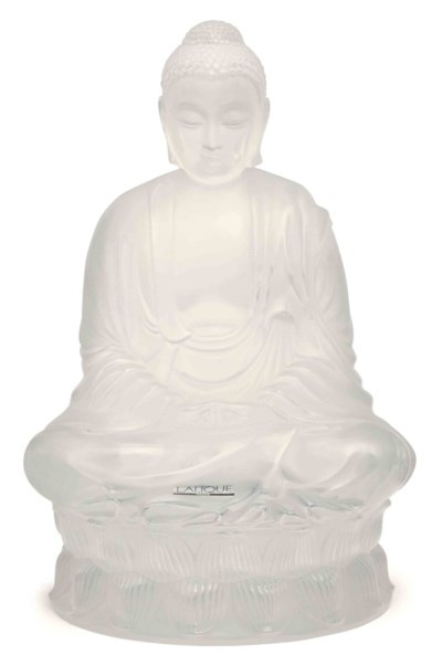 A FRENCH GLASS MODEL OF BUDDHA