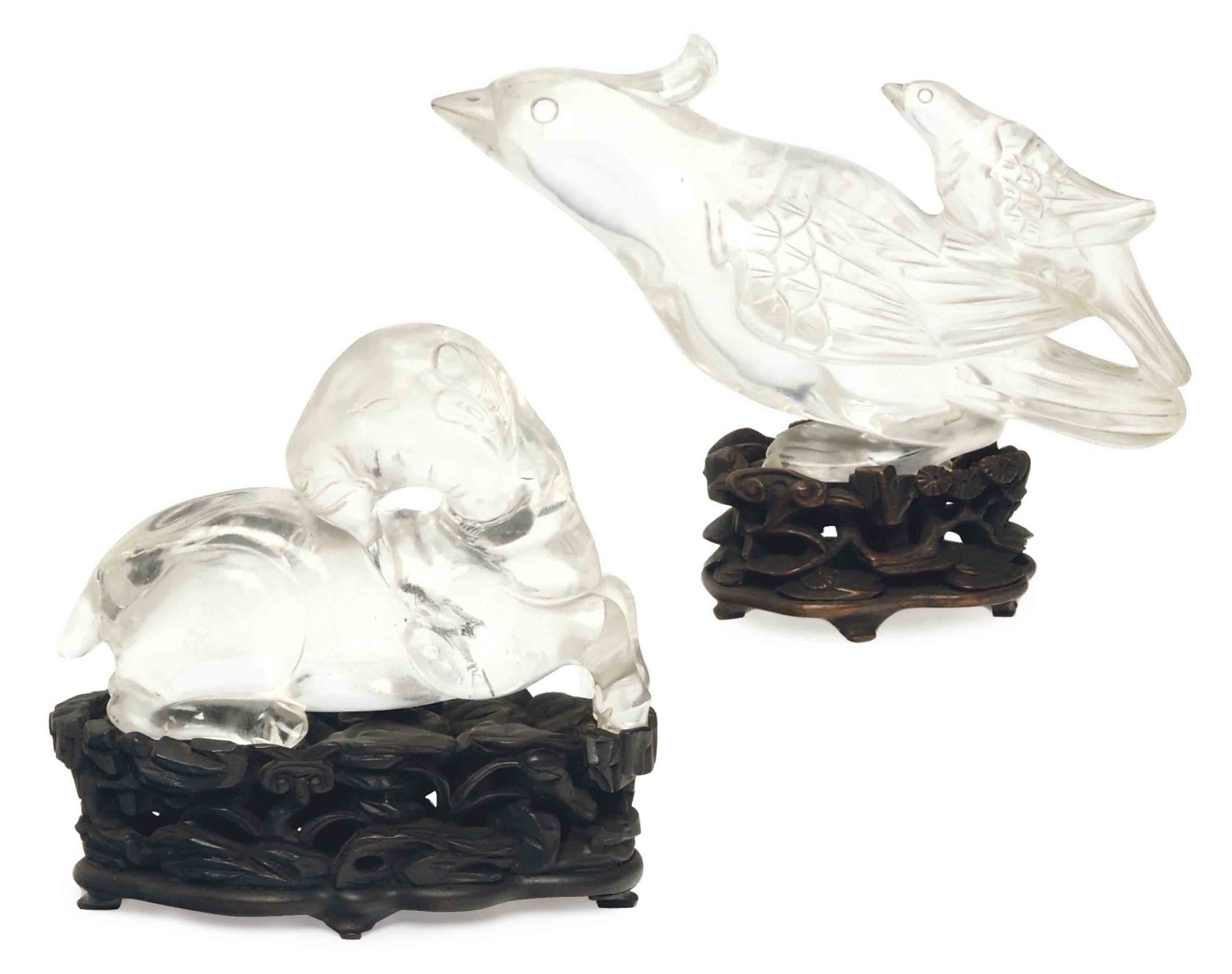 A CHINESE CARVED ROCK CRYSTAL FIGURE OF A RAM, AND A ROCK CRYSTAL FIGURE OF TWO BIRDS,
