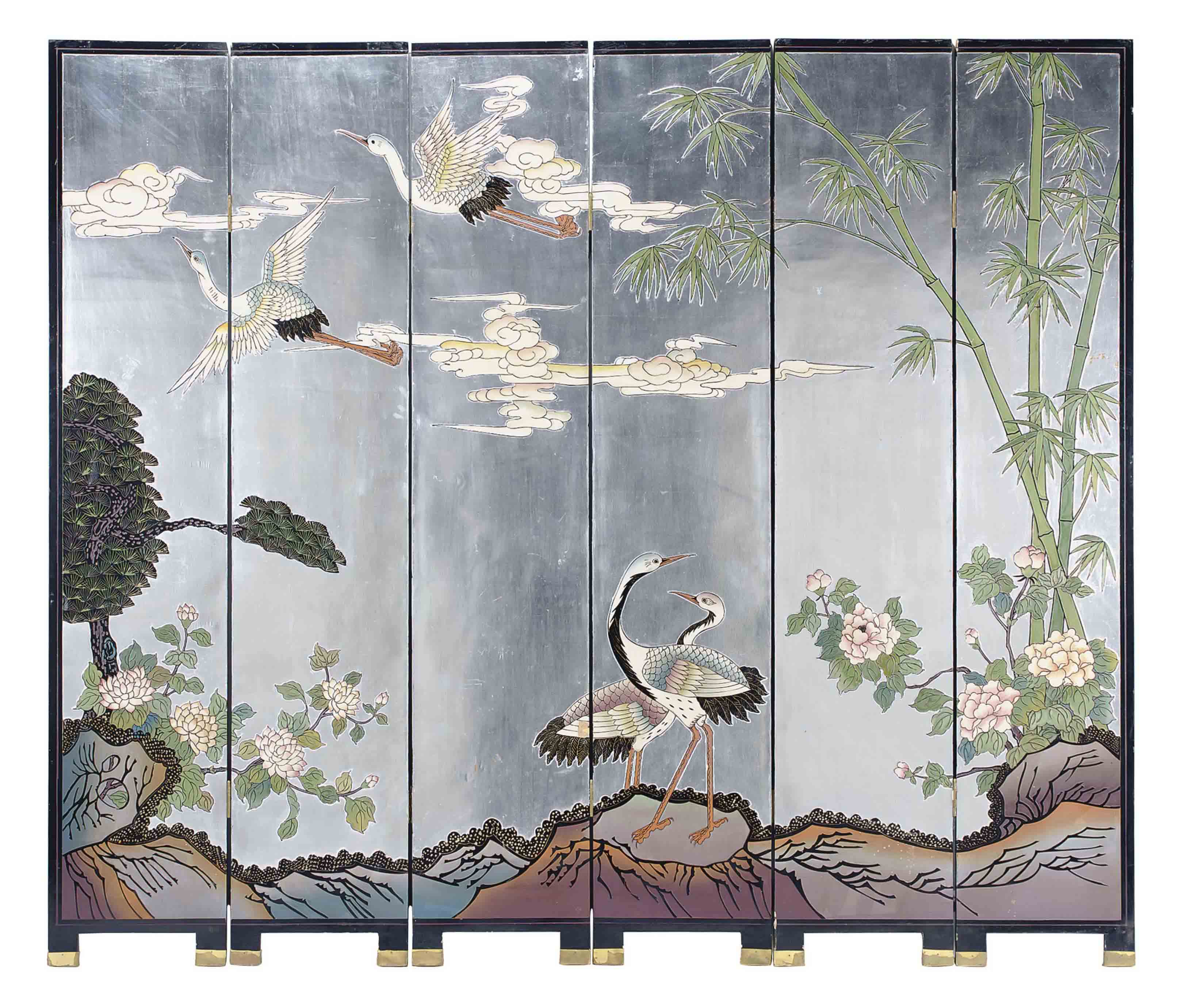 AN ASIAN LACQUERED AND SILVERED SIX-PANEL FLOORSCREEN,