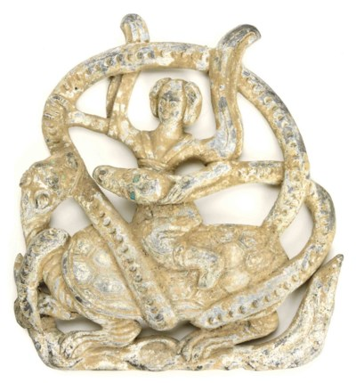 A CHINESE METAL PLAQUE DEPICTI
