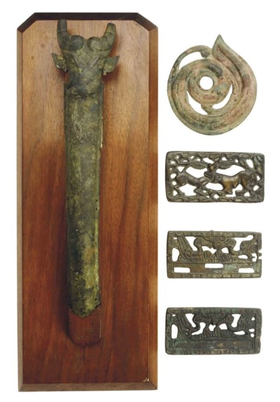 FOUR CHINESE BRONZE OBJECTS,