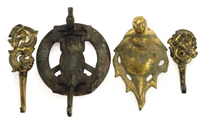 FOUR CHINESE ANIMAL-FORM BRONZ