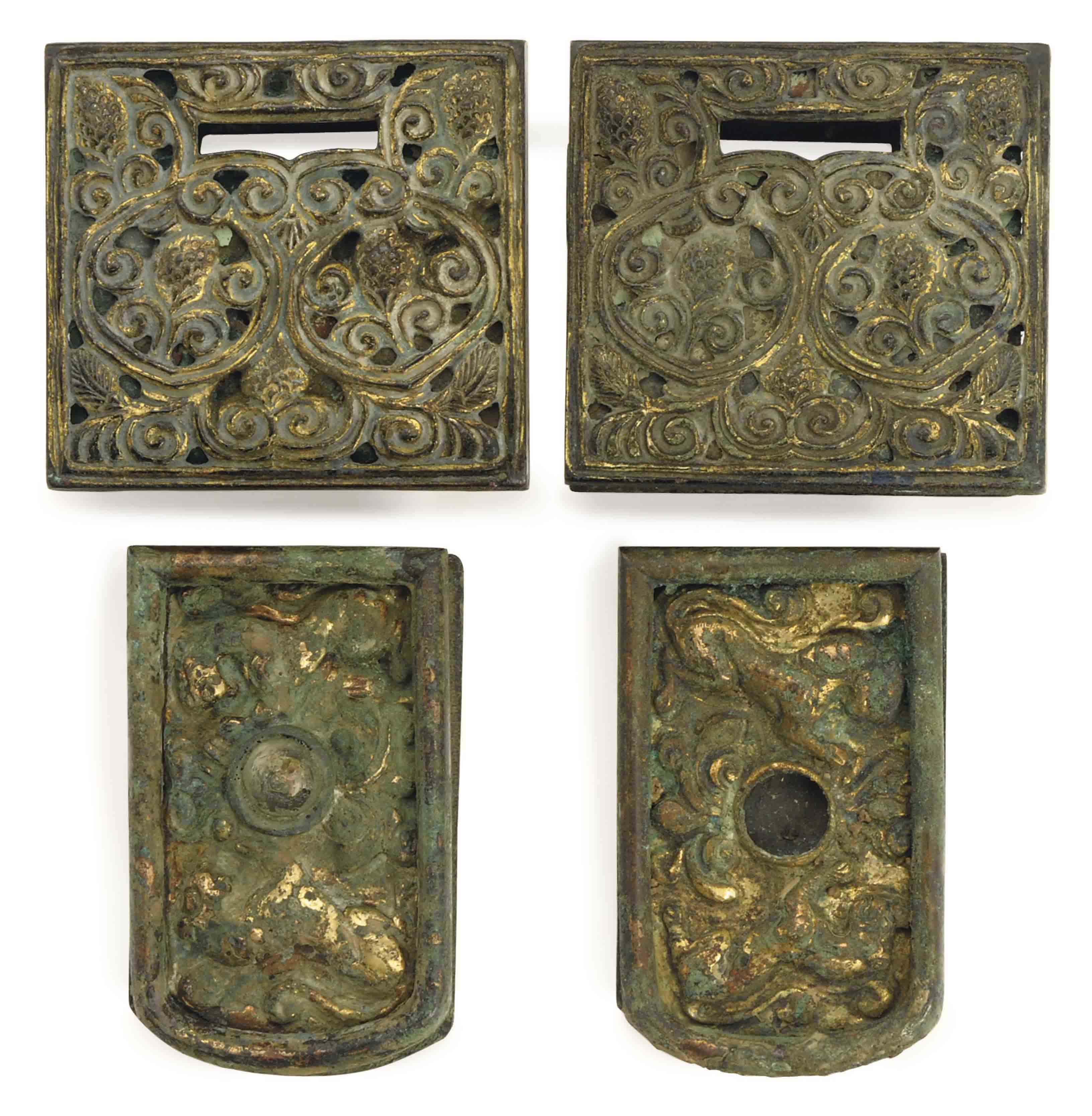 TWO PAIRS OF CHINESE GILT BRONZE BELT FITTINGS,