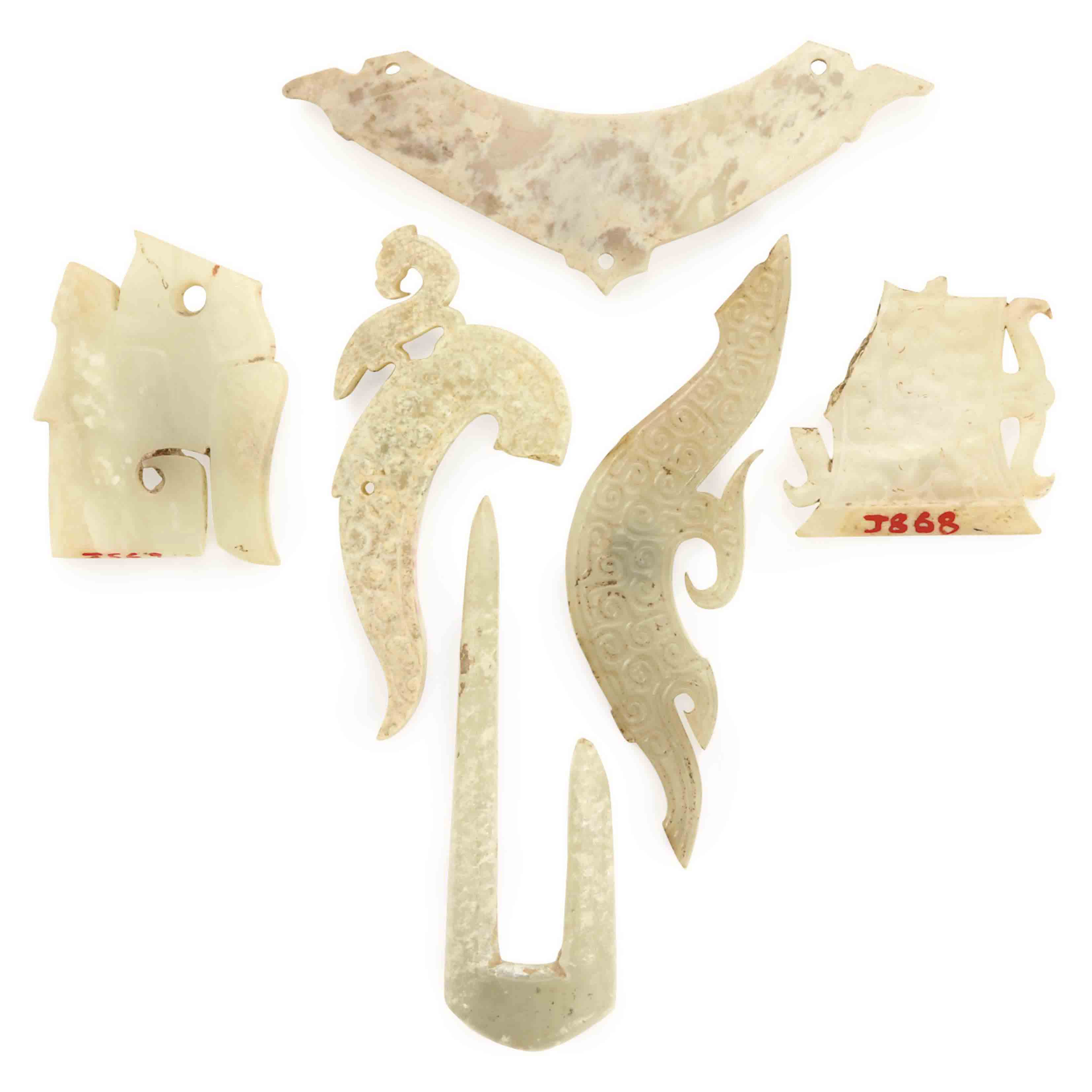 SIX CHINESE JADE OBJECTS,