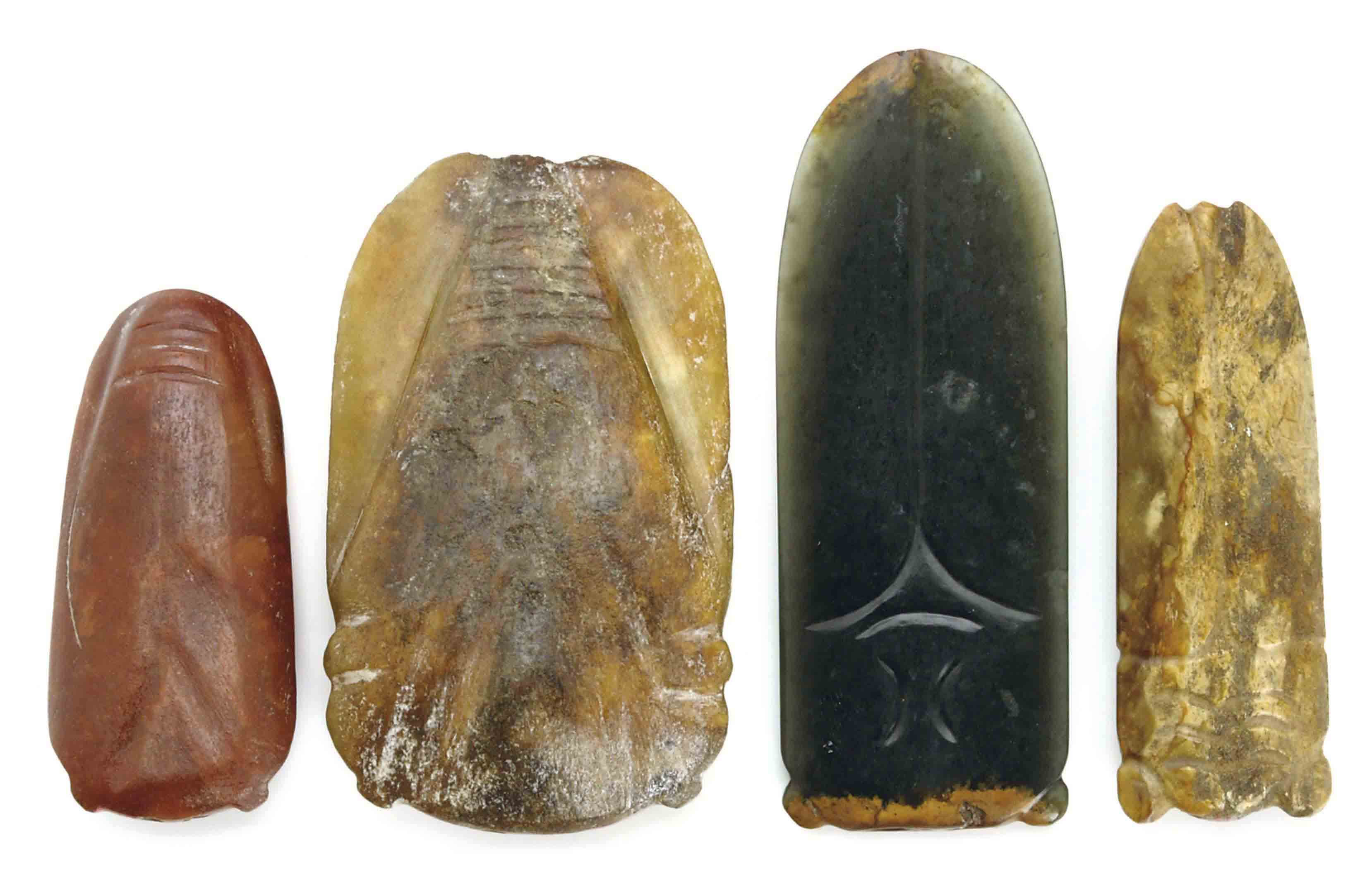 FOUR CHINESE JADE CICADA-FORM PENDANTS,