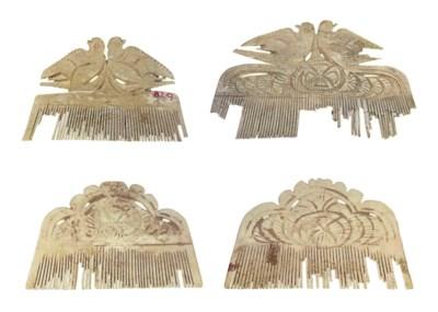 FOUR CHINESE BONE HAIR COMBS,