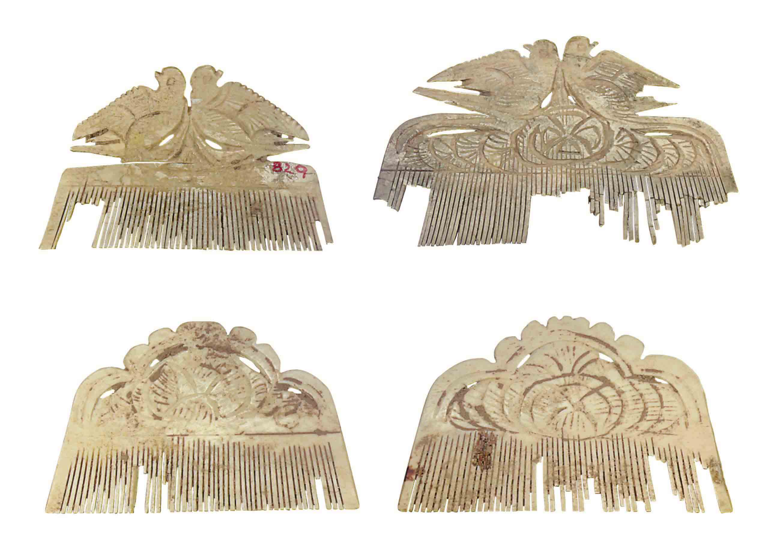 FOUR CHINESE BONE HAIR COMBS,