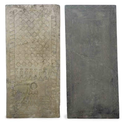 THREE GREY POTTERY TILES WITH